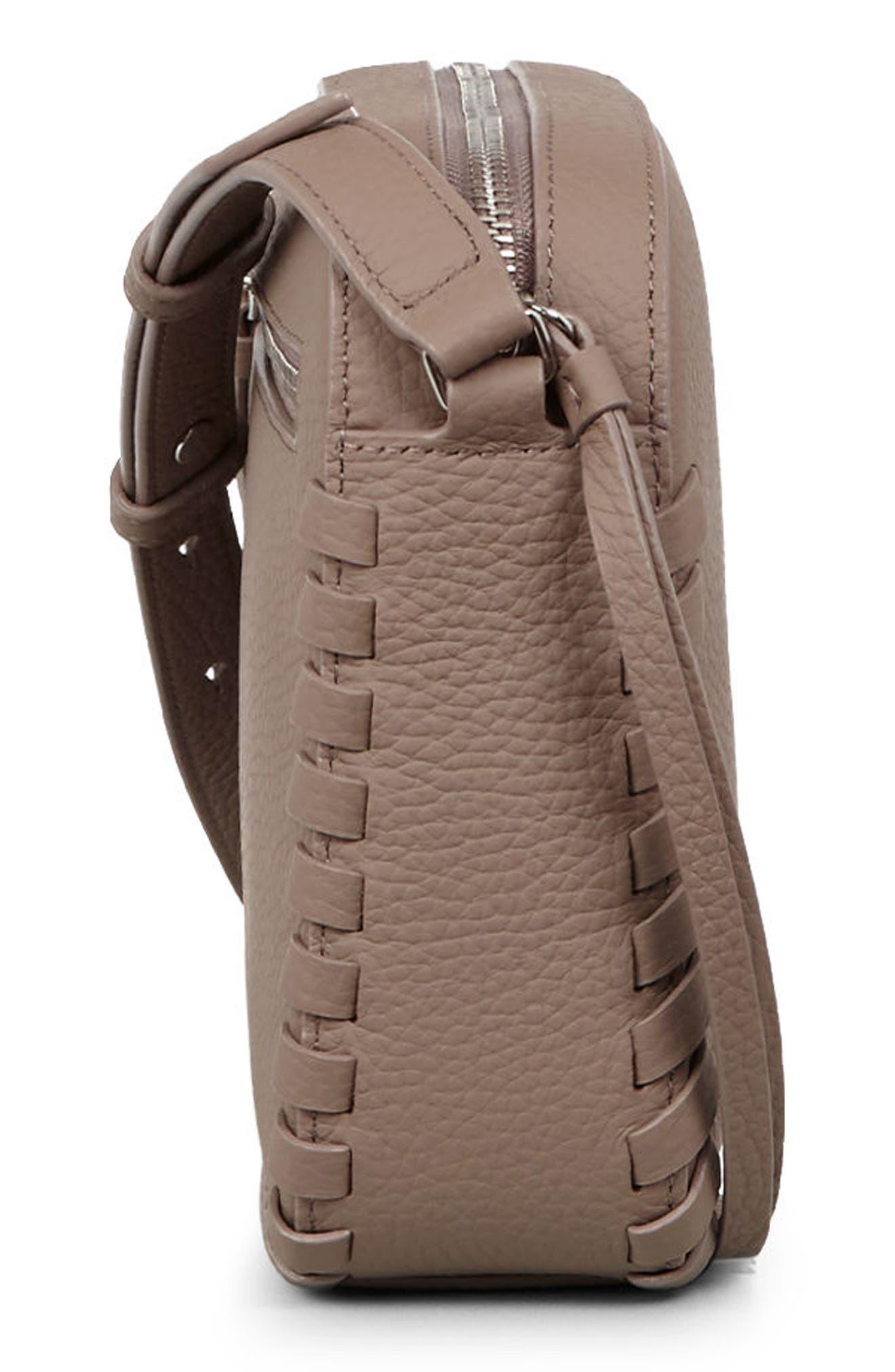 Kepi Mini Leather Crossbody Bag,                             Alternate thumbnail 5, color,                             ALMOND BROWN