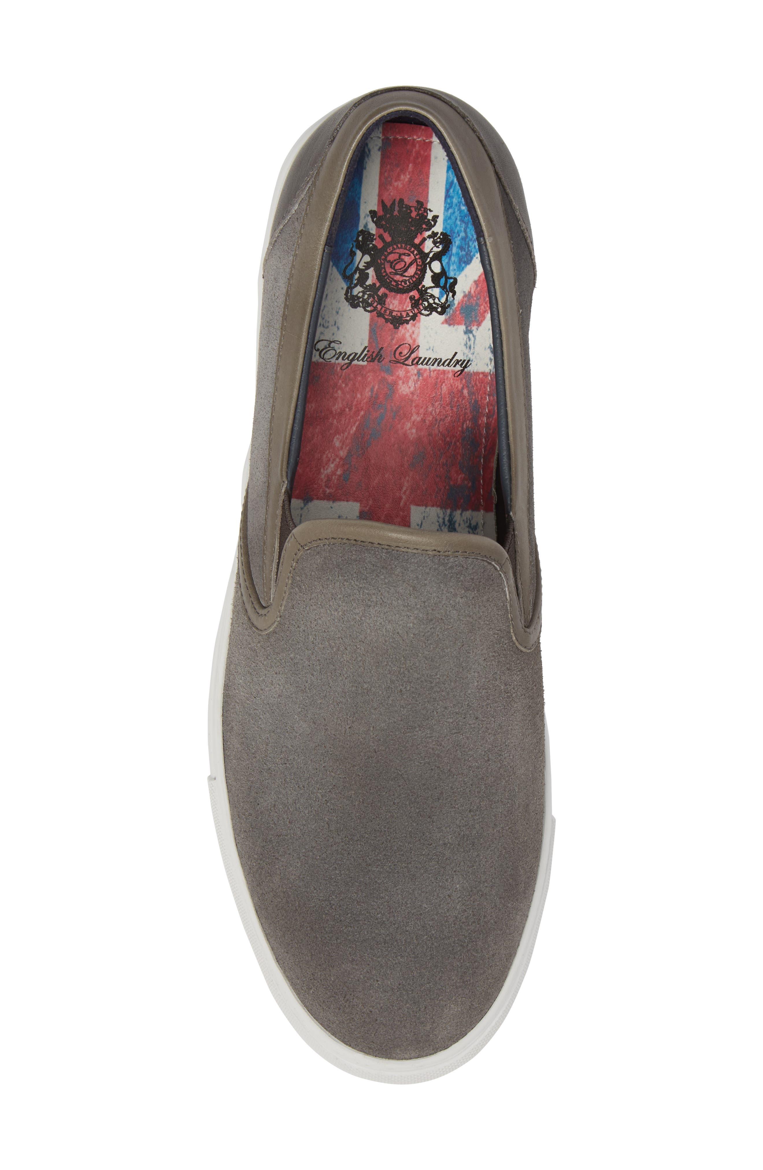 Vane Slip-On Sneaker,                             Alternate thumbnail 5, color,                             GREY SUEDE/ LEATHER