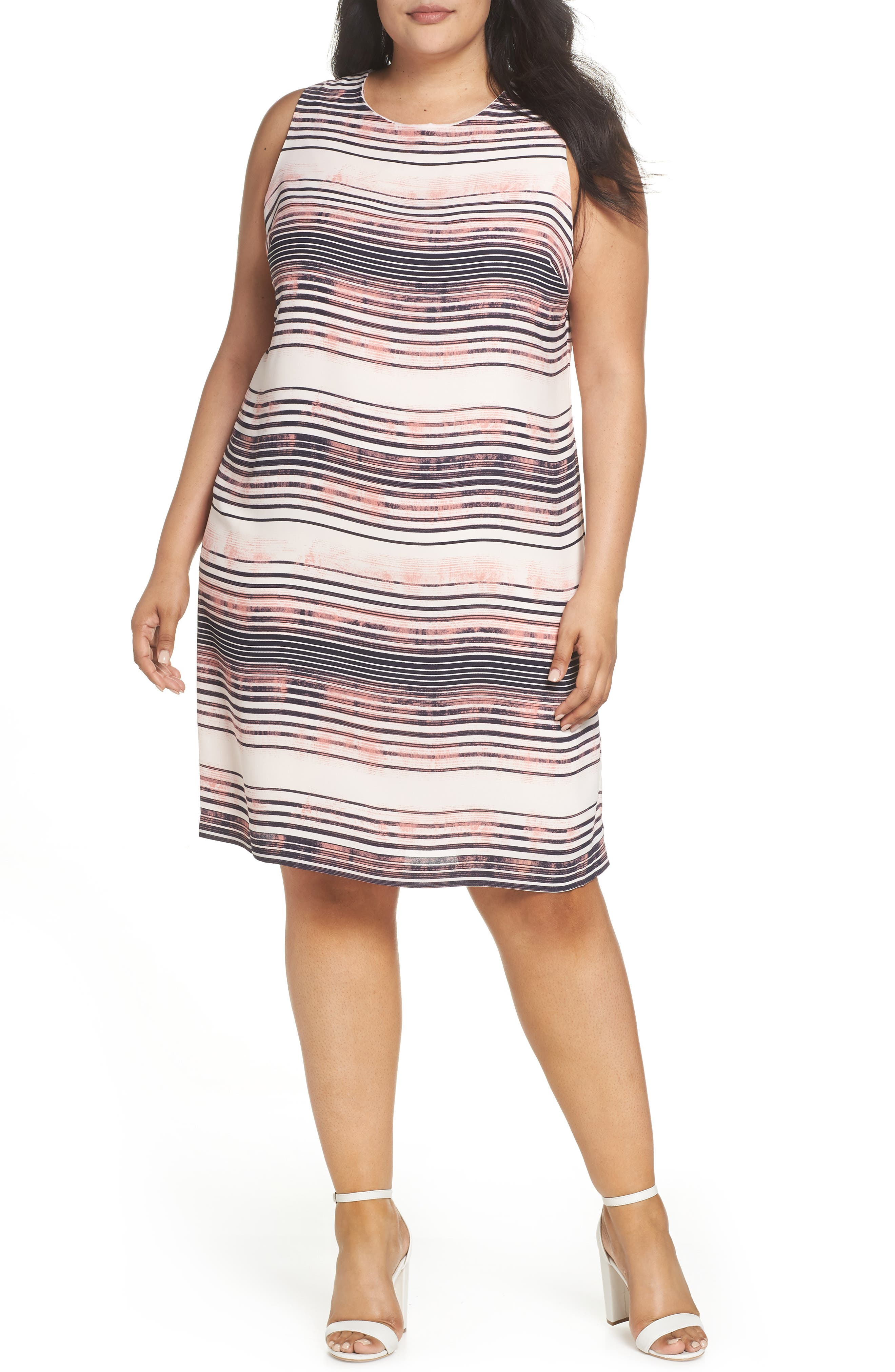 Plus Size Vince Camuto Ancient Muses Shift Dress, Ivory