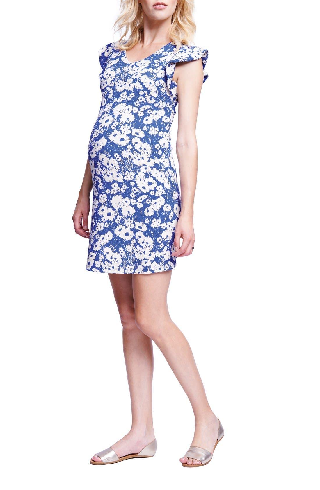 Flutter Sleeve Maternity Dress,                         Main,                         color, ABSTRACT DAISY