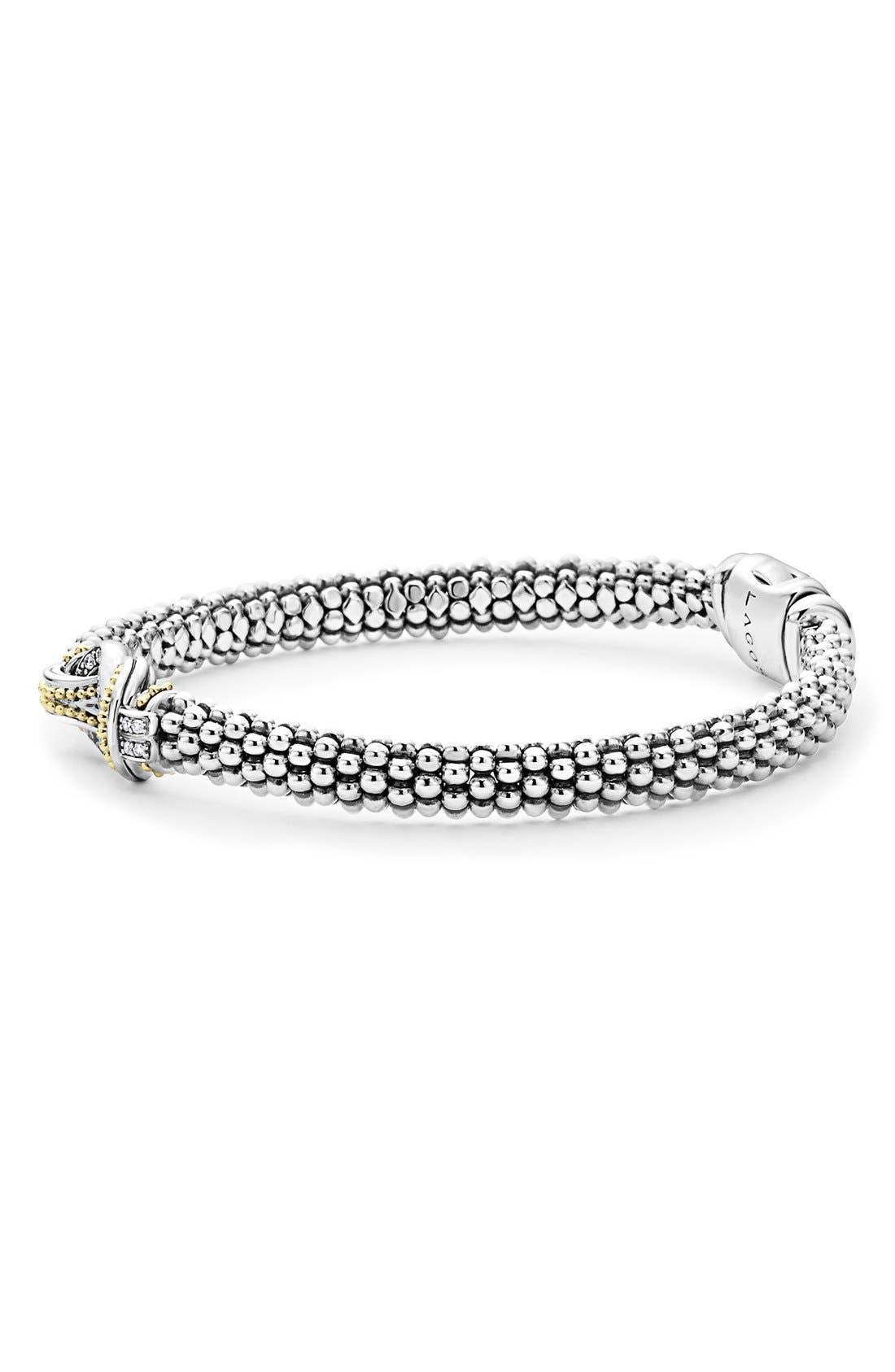 'Newport' Diamond Knot Bracelet,                             Alternate thumbnail 7, color,                             SILVER/ GOLD