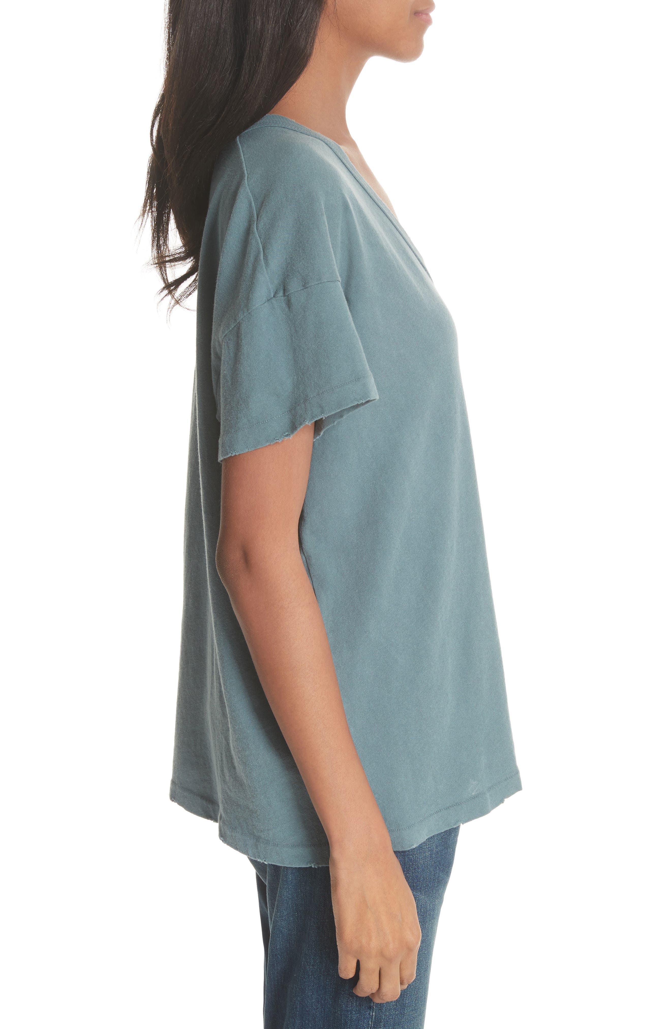 U-Neck Tee,                             Alternate thumbnail 3, color,                             MOTTLED BLUE