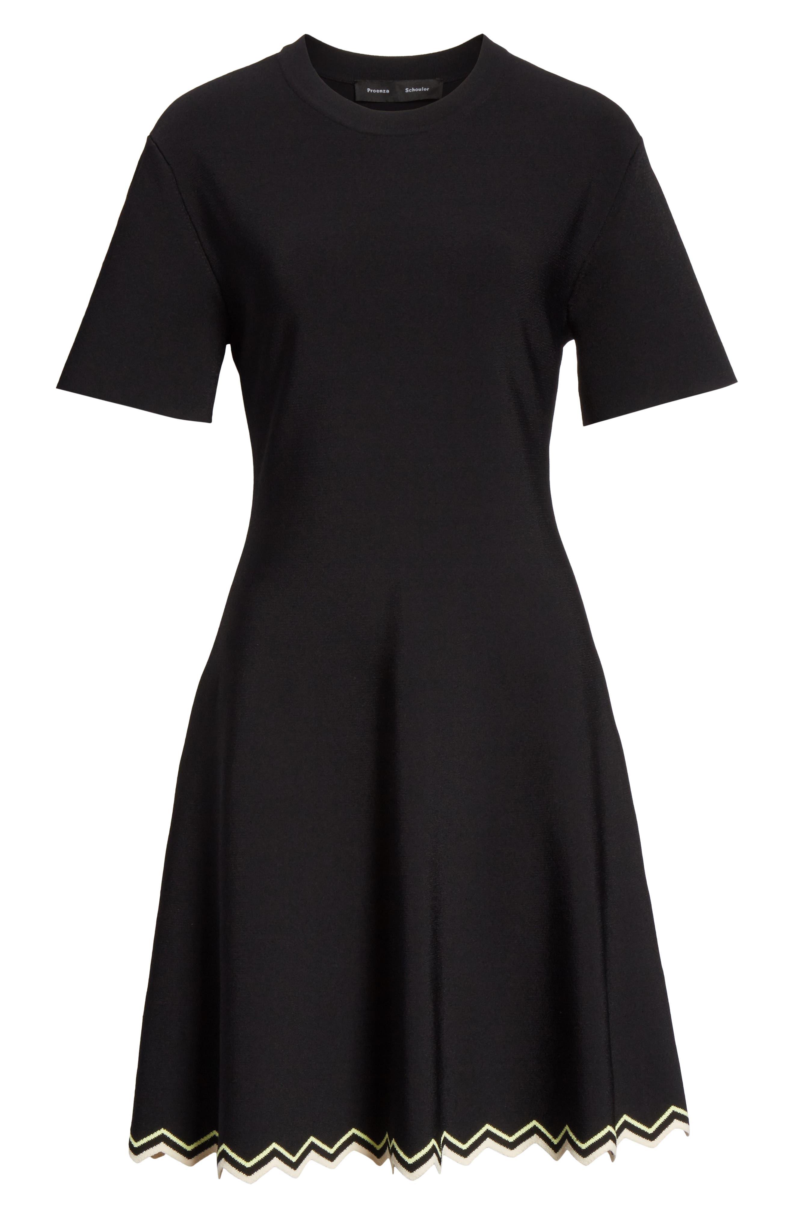 Chevron Hem A-Line Dress,                             Alternate thumbnail 7, color,                             10225 BLACK COMBO