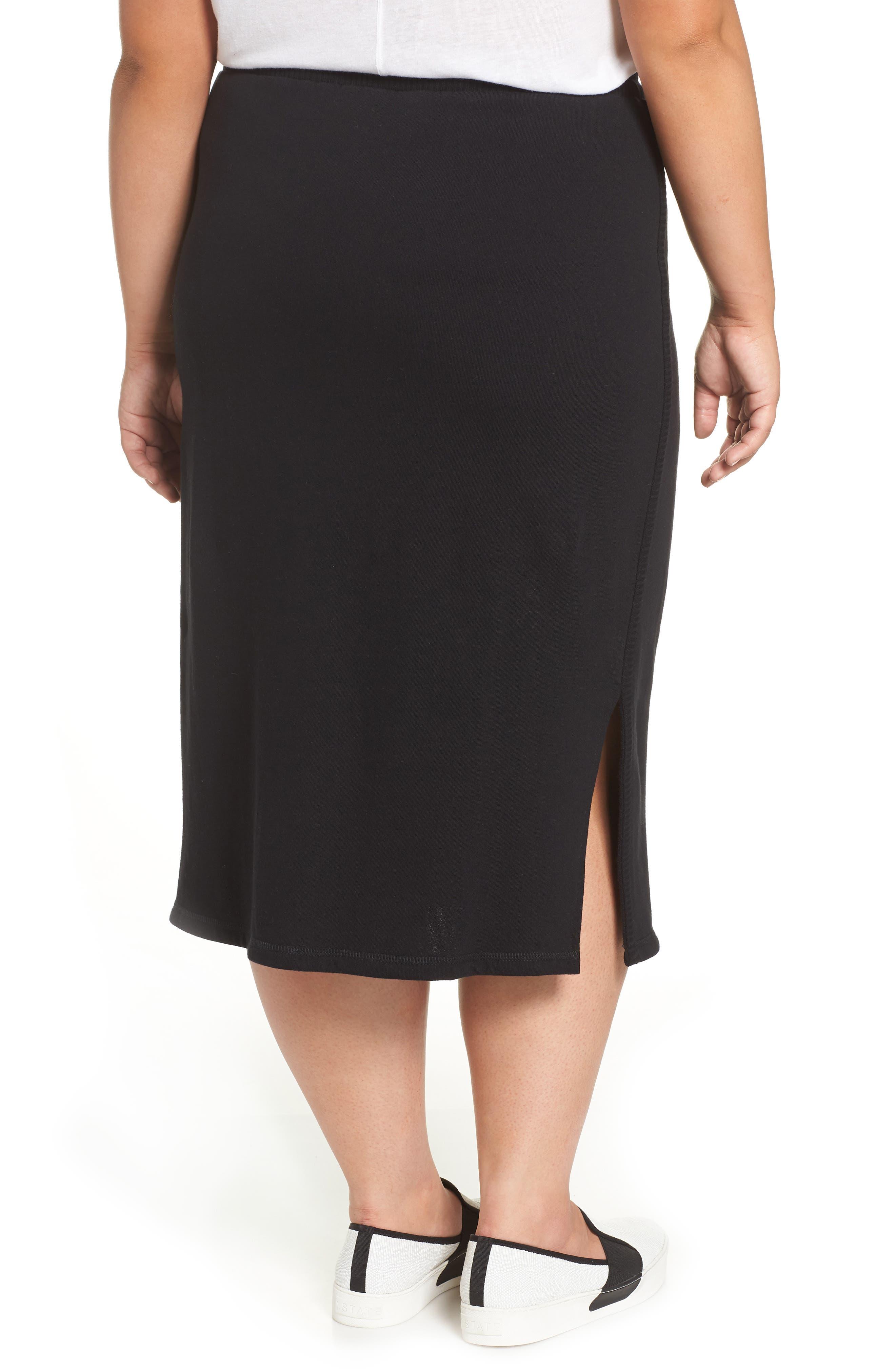 Ribbed Trim Midi Skirt,                             Alternate thumbnail 2, color,                             001