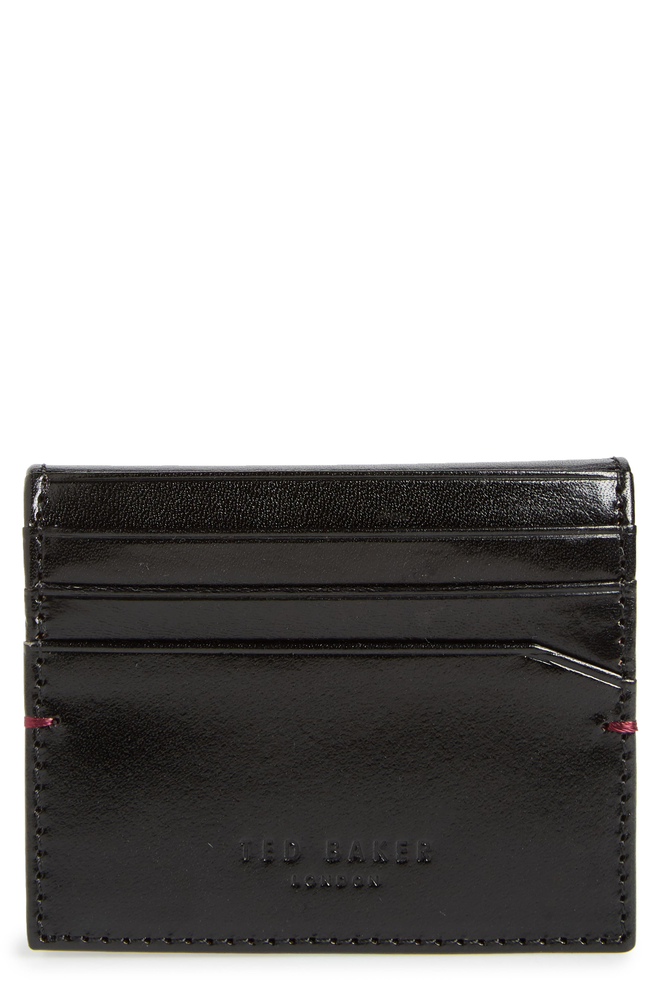 TED BAKER LONDON,                             Contrast Internals Leather Card Case,                             Main thumbnail 1, color,                             BLACK