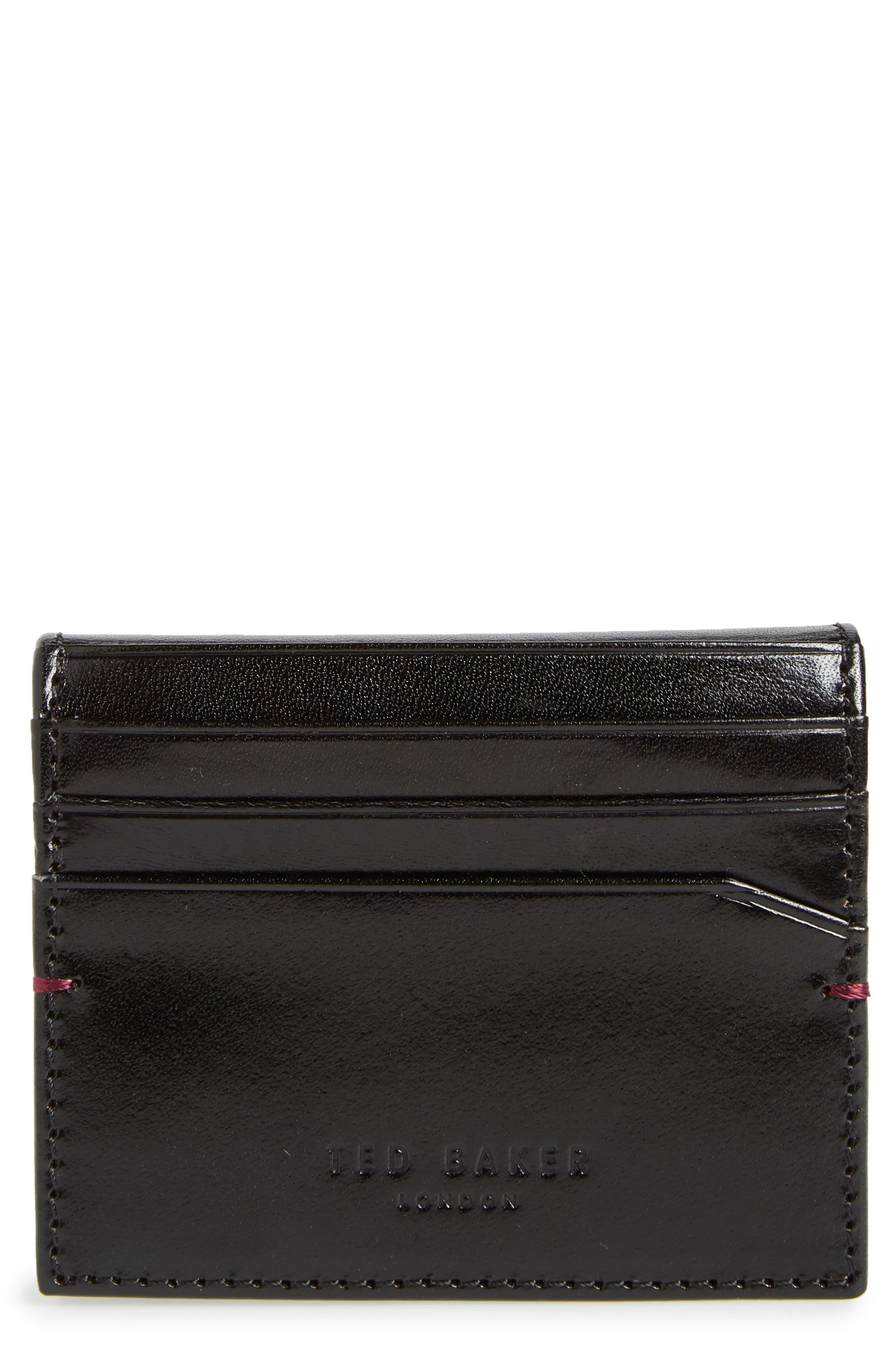 TED BAKER LONDON Contrast Internals Leather Card Case, Main, color, BLACK