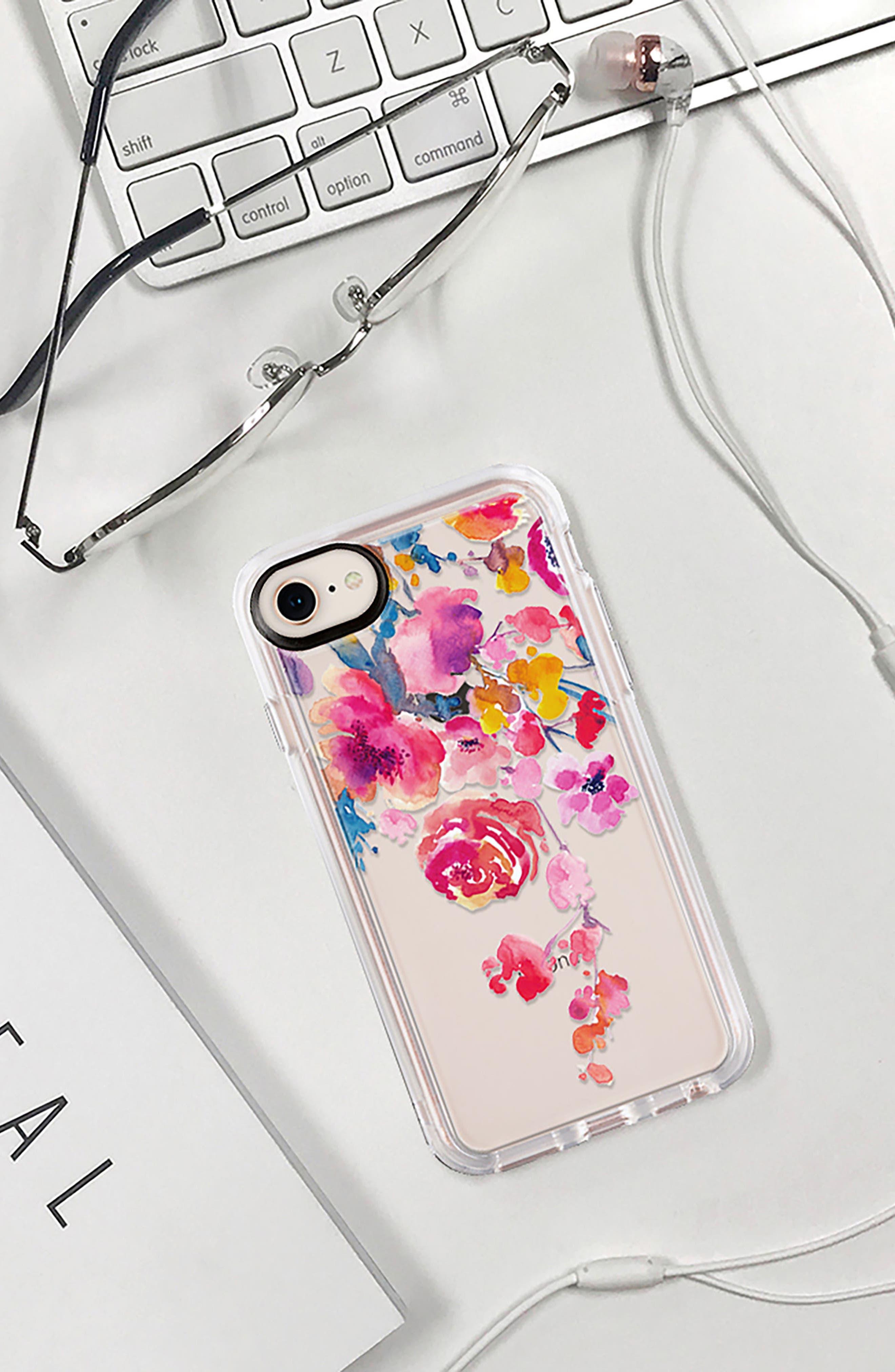 Watercolor Floral iPhone 7/8 & 7/8 Plus Case,                             Alternate thumbnail 8, color,                             PINK MULTI