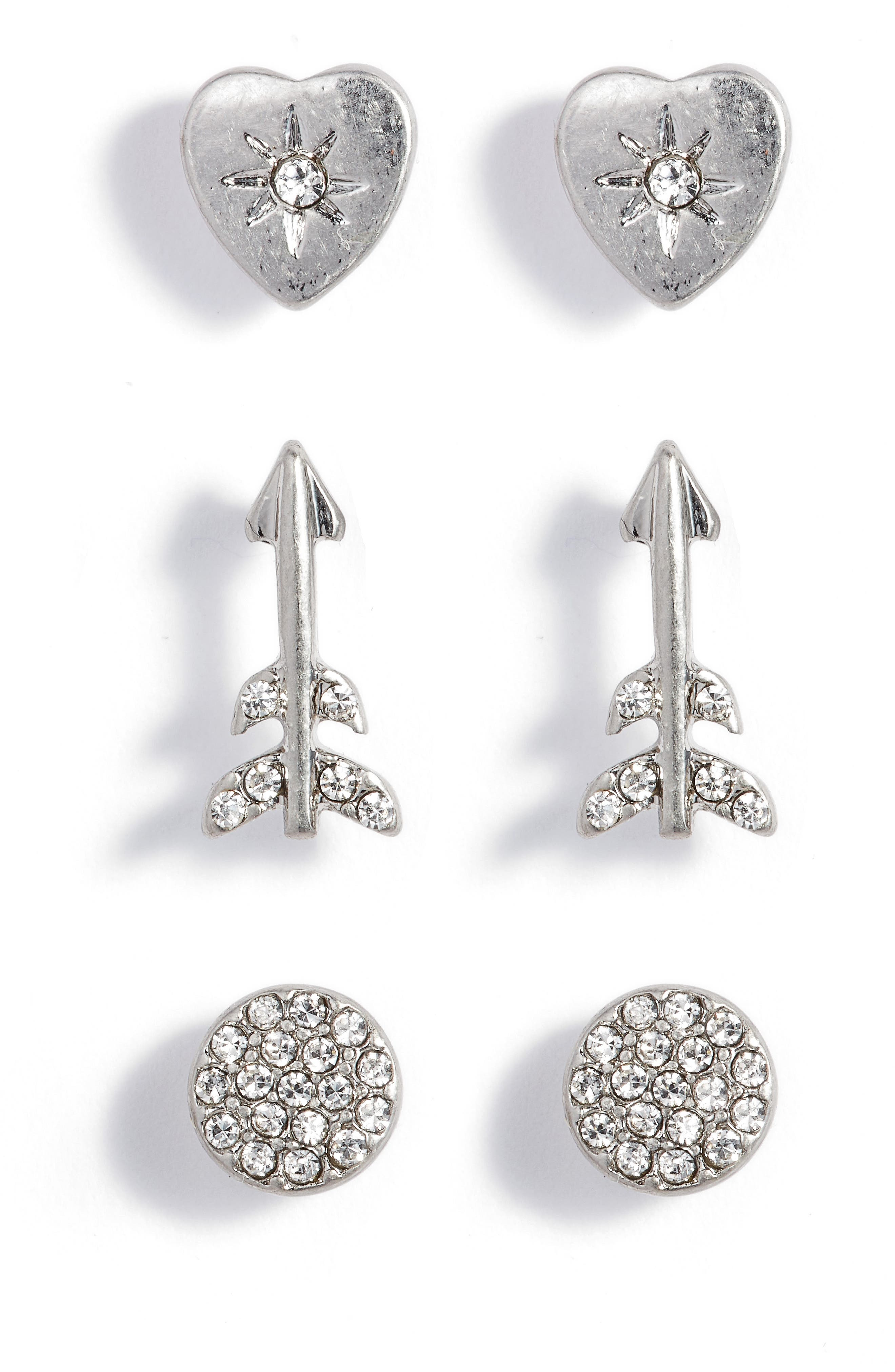 Arrow Stud Earrings Set of 3,                         Main,                         color, 040