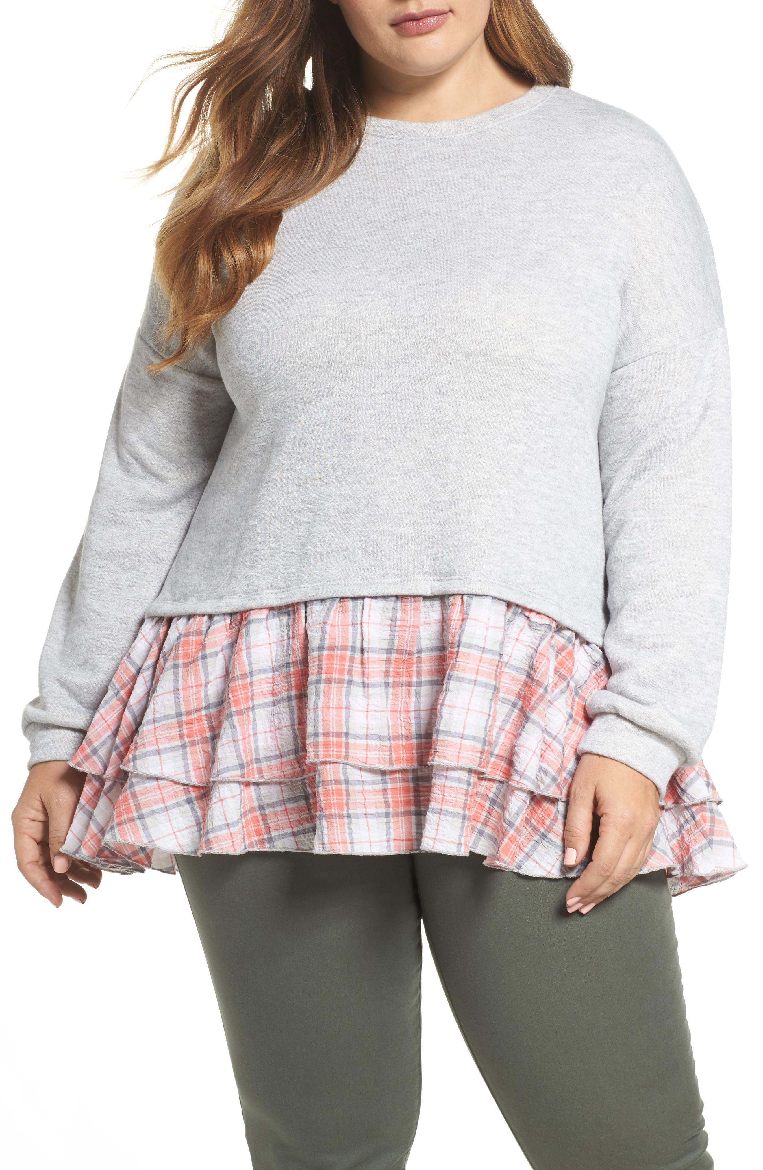 Layered Look Sweatshirt,                         Main,                         color, 030