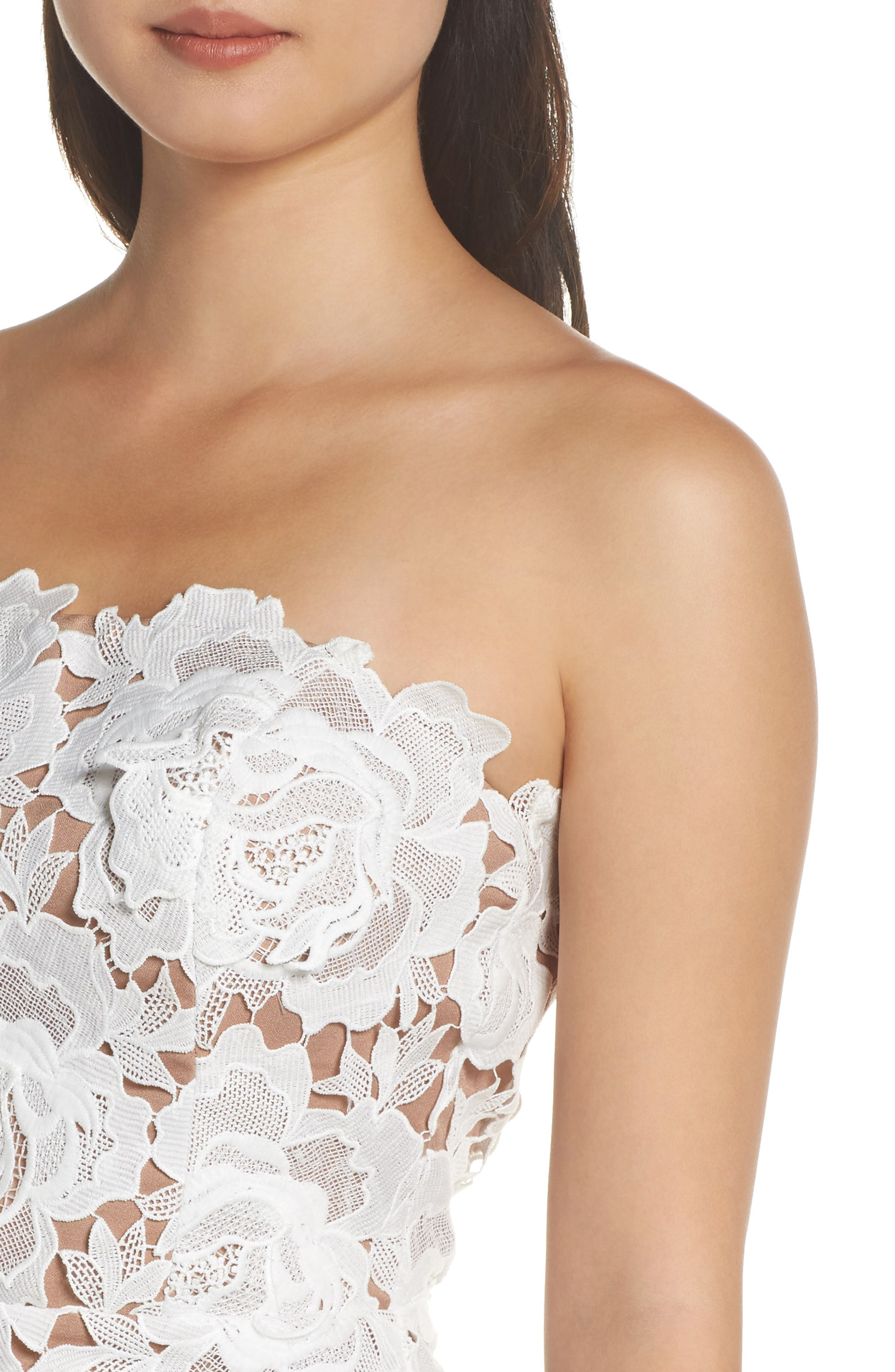 Jade Strapless Lace Dress,                             Alternate thumbnail 4, color,                             WHITE-NUDE