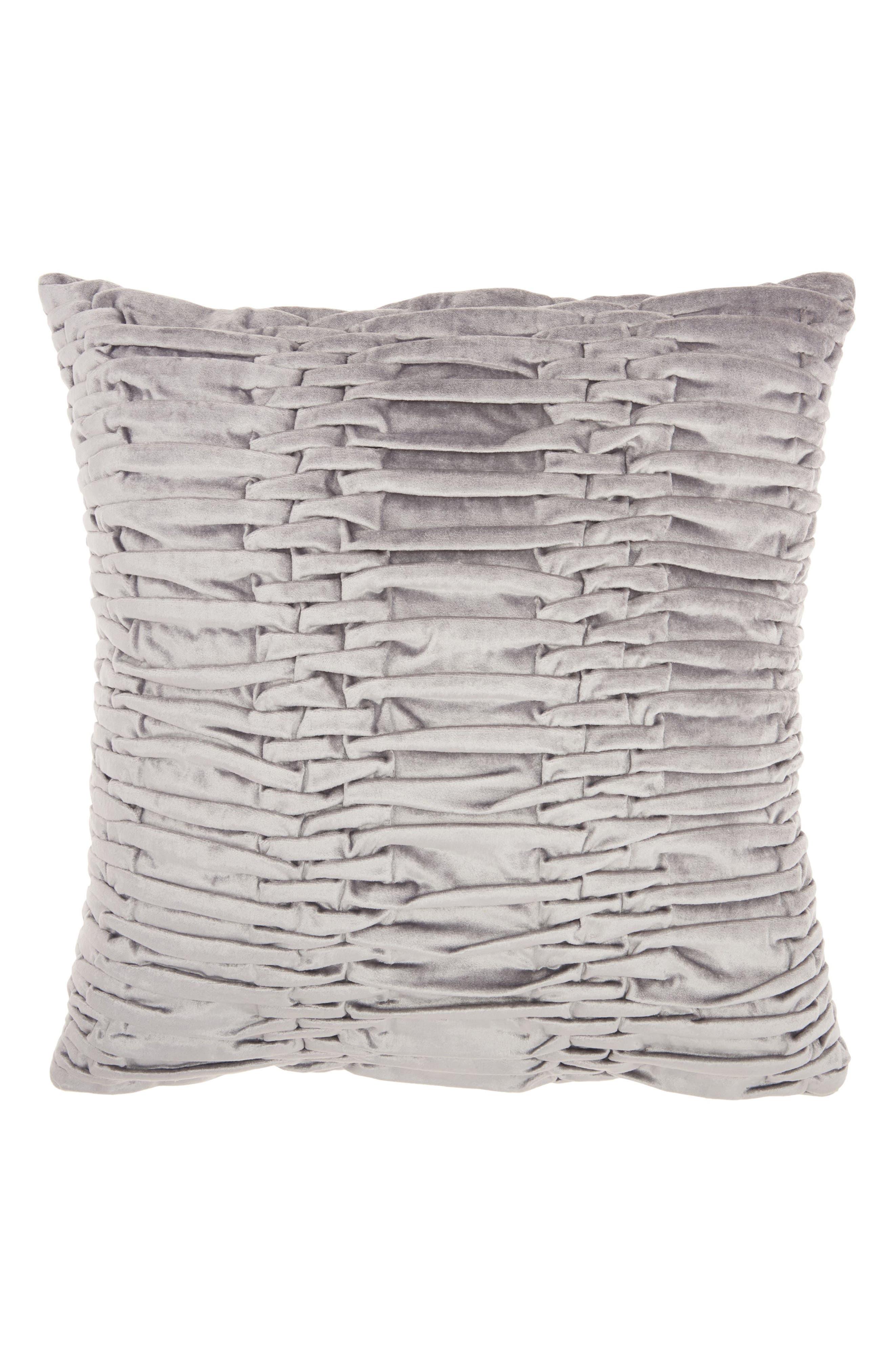 Pleated Velvet Accent Pillow,                         Main,                         color, 020