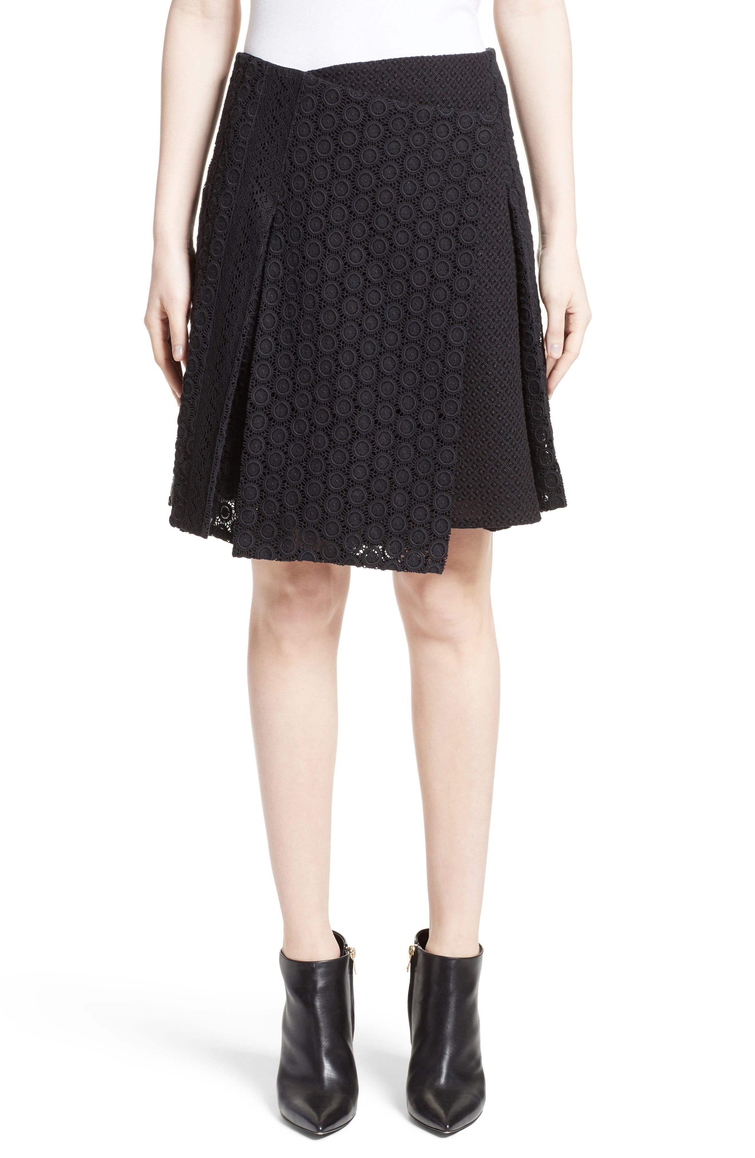 Howe Mixed Lace Pleated Wrap Skirt,                         Main,                         color, 001