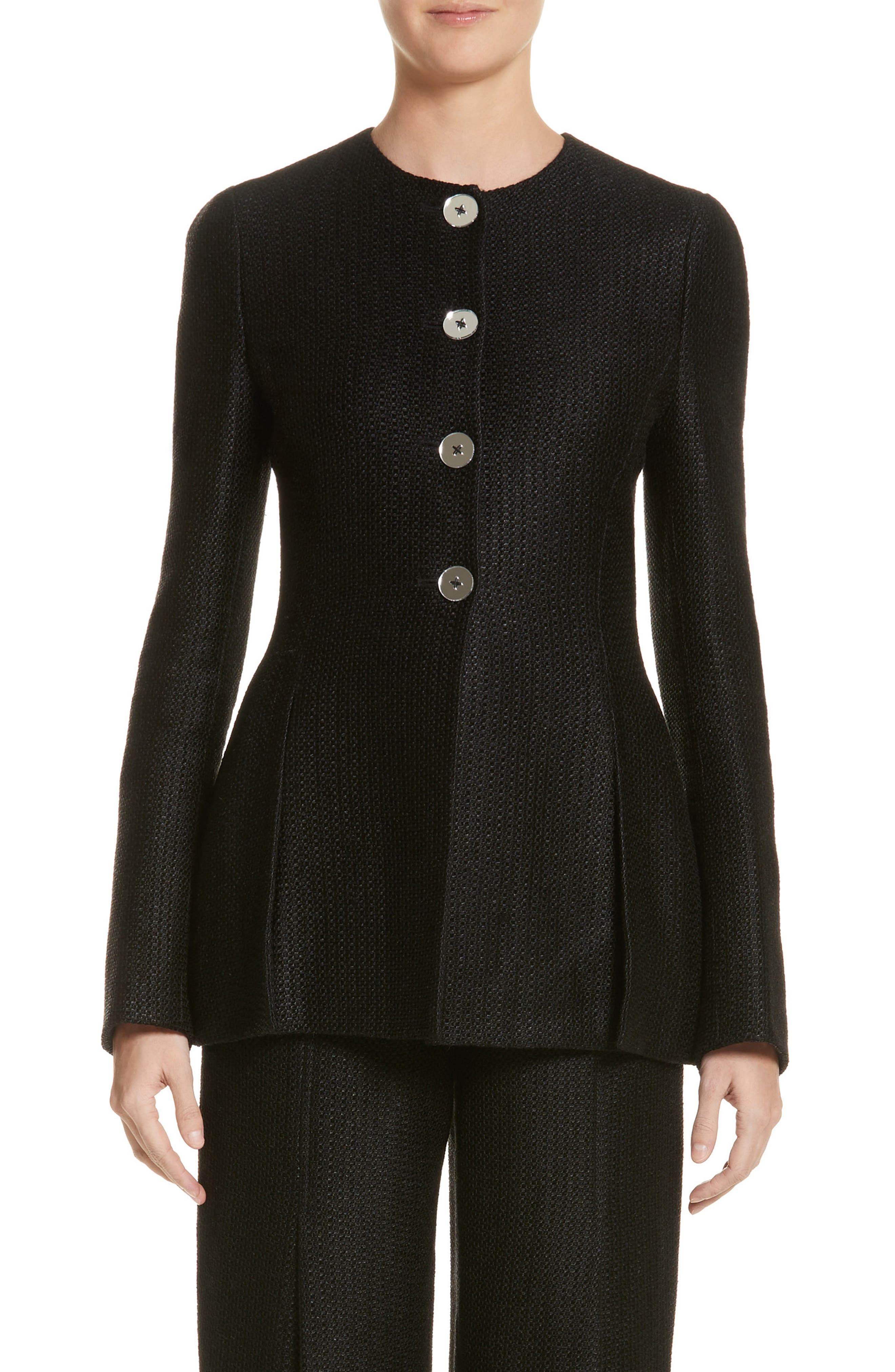 Linen & Silk Blend Tweed Jacket,                             Main thumbnail 1, color,                             001