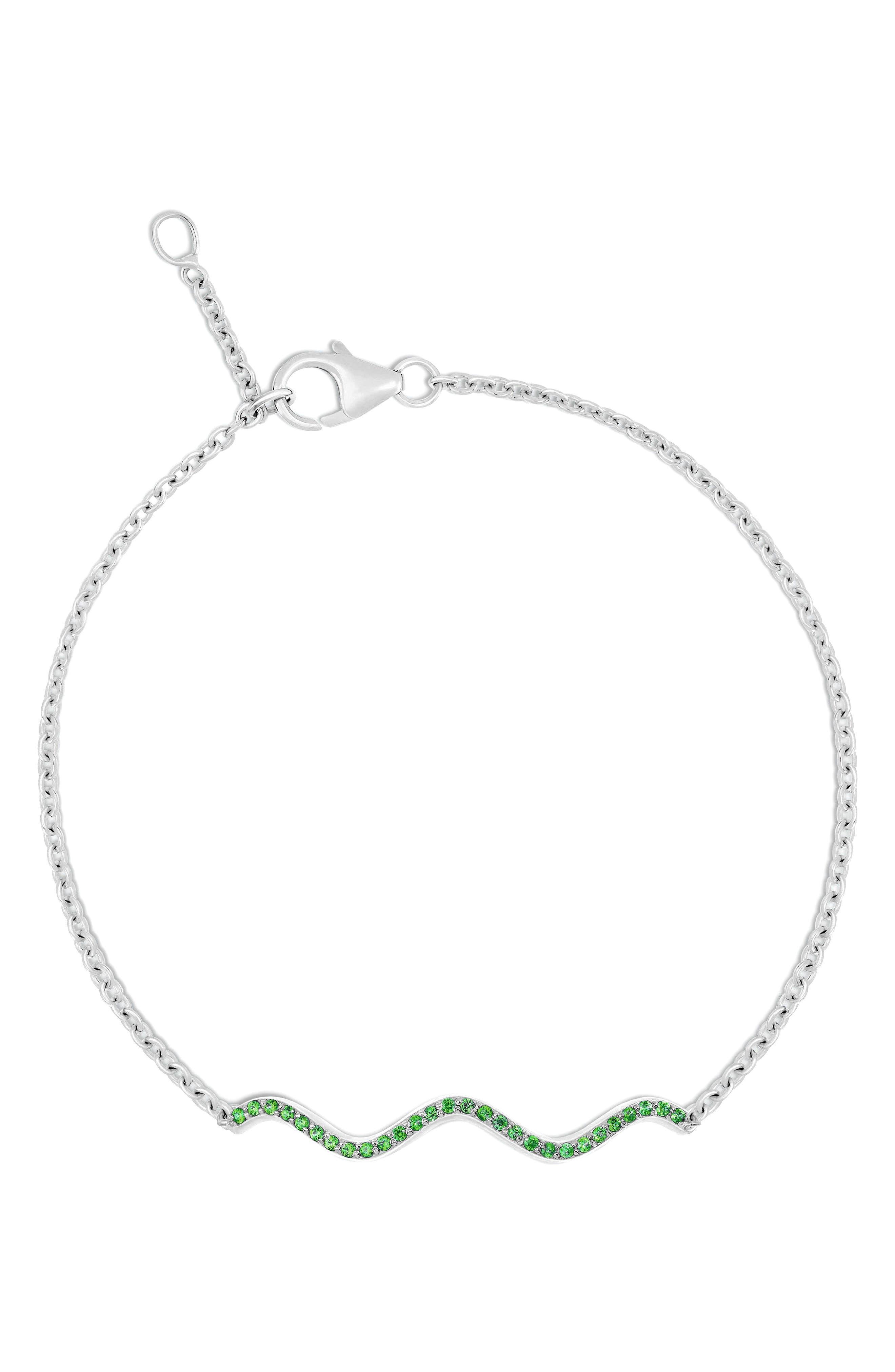 Memphis Chained Wave Tsavorite Bracelet,                             Main thumbnail 1, color,                             WHITE GOLD