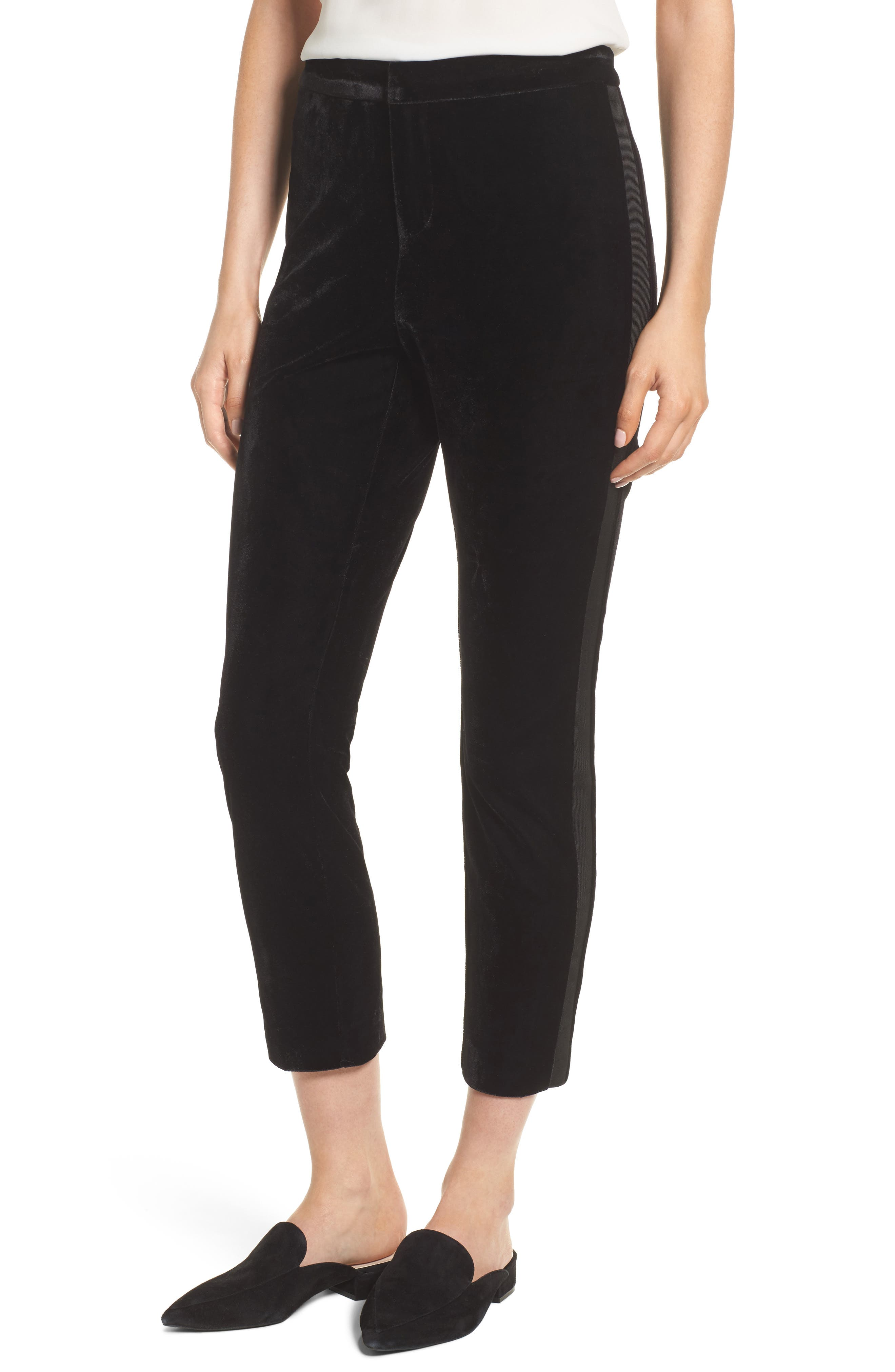 Evalina Velvet Crop Skinny Pants,                             Main thumbnail 1, color,                             001