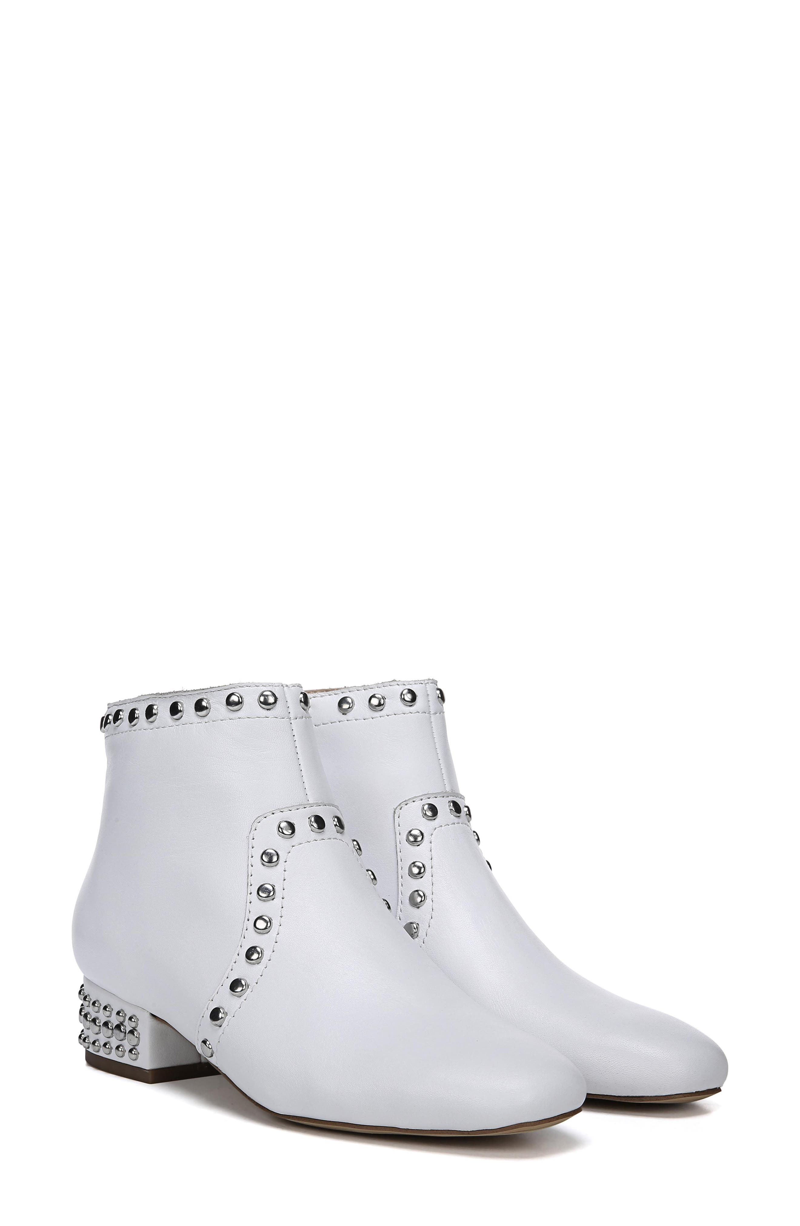Lorin Studded Bootie,                             Alternate thumbnail 9, color,                             WHITE LEATHER