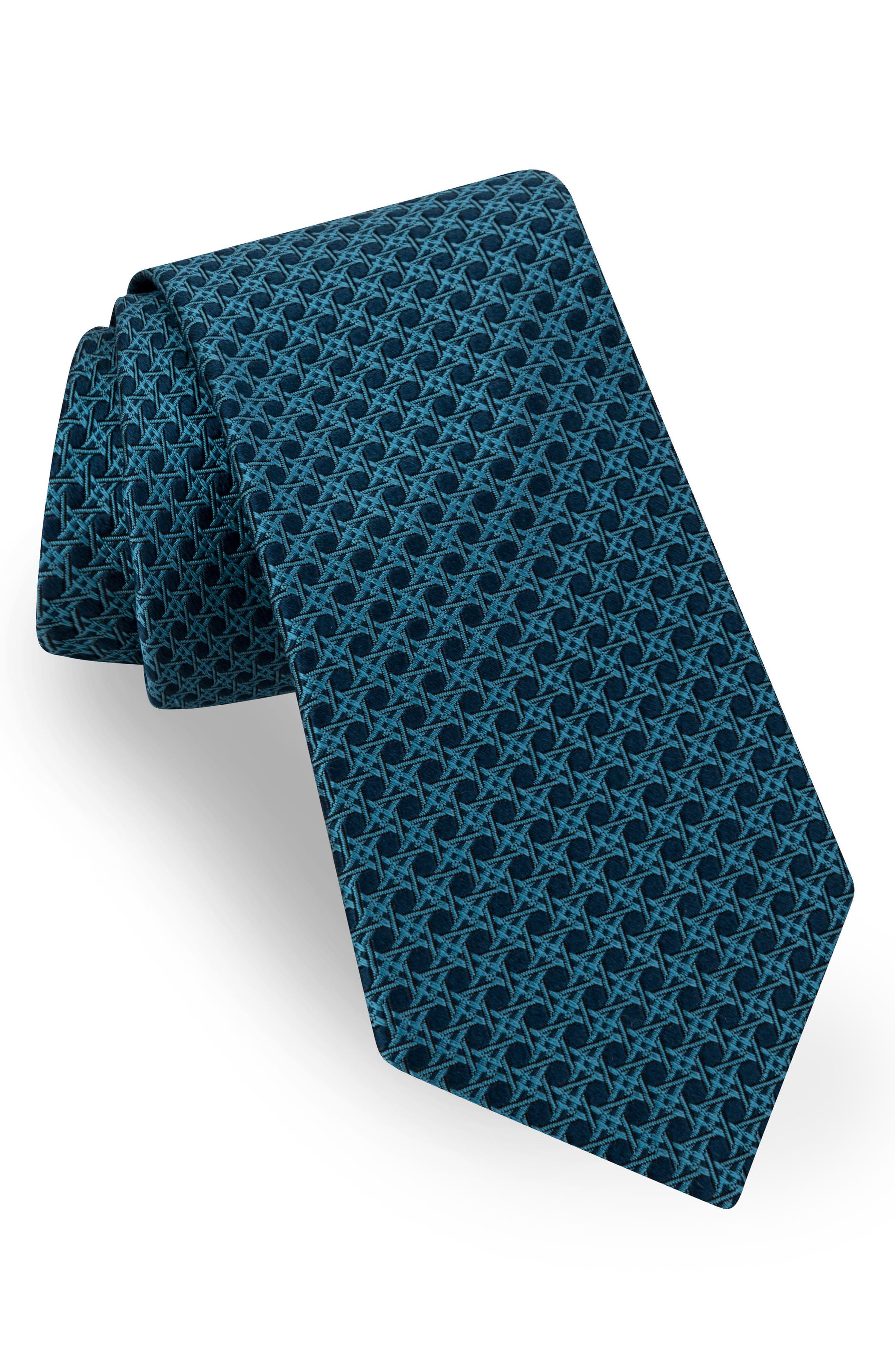 Fancy Geometric Silk Tie,                             Main thumbnail 1, color,                             439