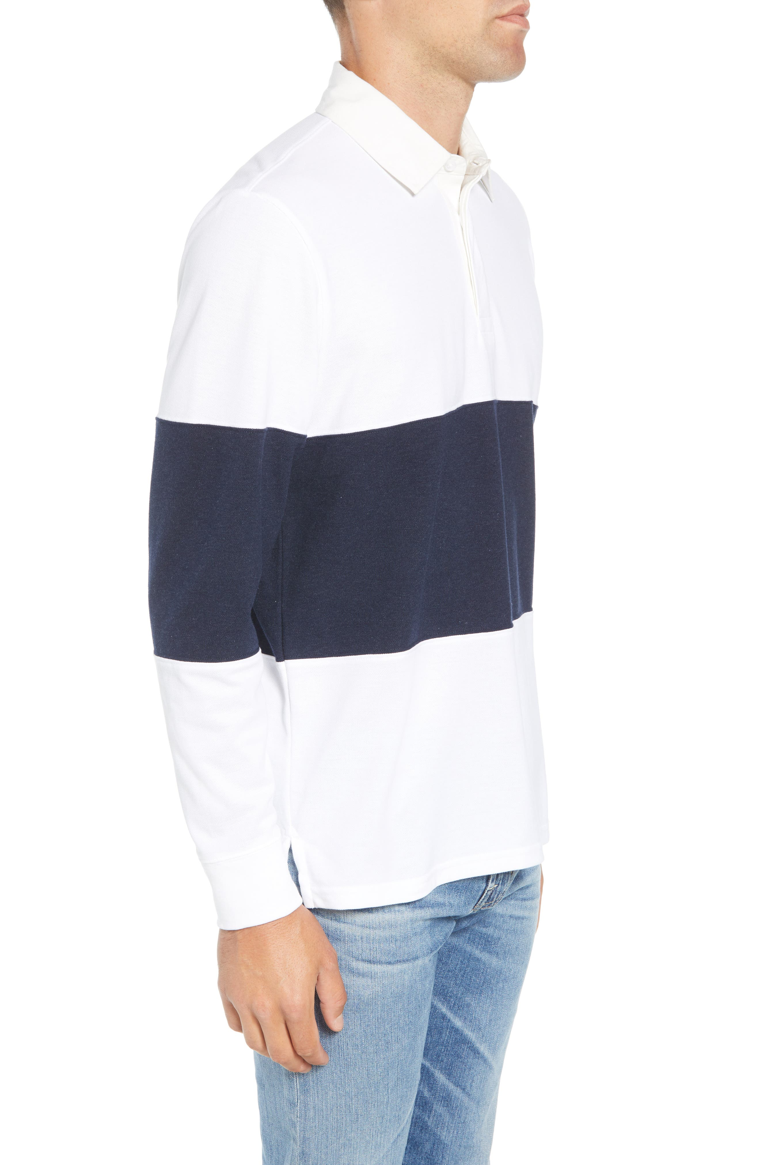 Regular Fit Rugby Piqué Polo,                             Alternate thumbnail 3, color,                             NAVY BLAZER WHITE
