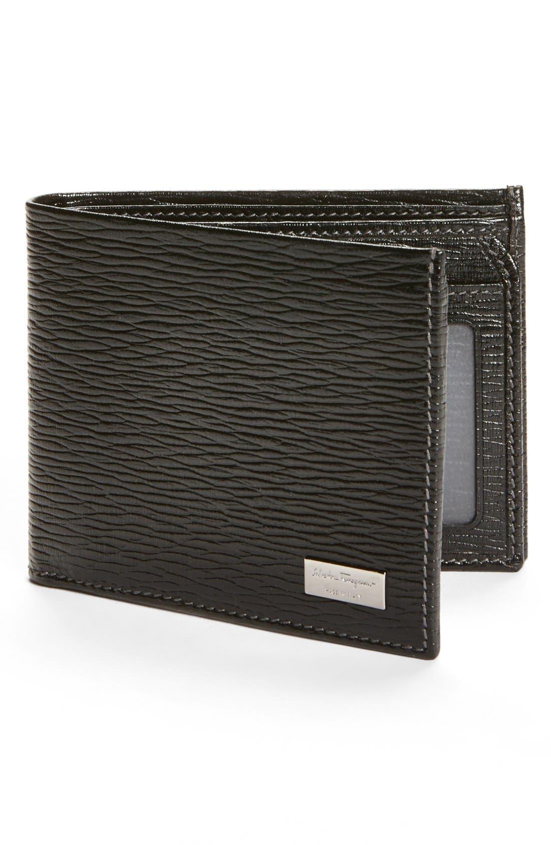 Stamped Calf Wallet,                             Main thumbnail 1, color,                             BLACK