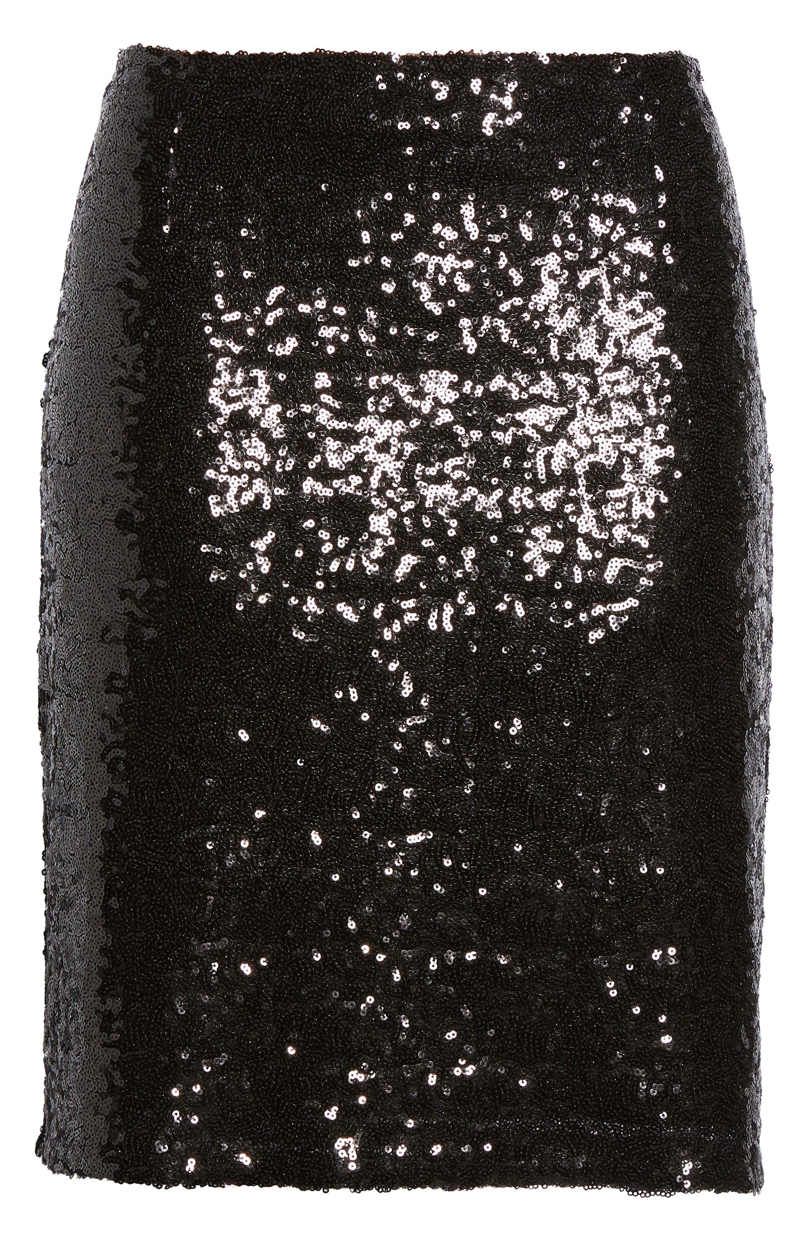 Short Sequin Skirt,                             Alternate thumbnail 6, color,                             001