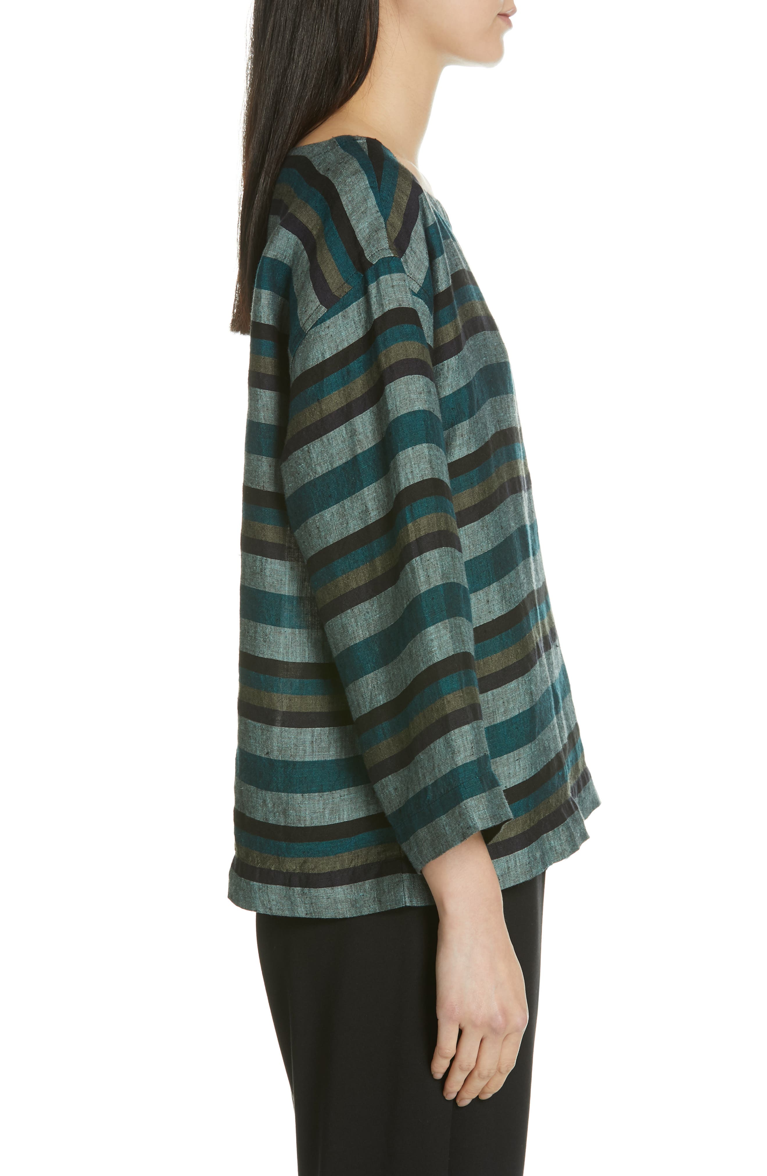Stripe Organic Linen Top,                             Alternate thumbnail 3, color,                             TEAL