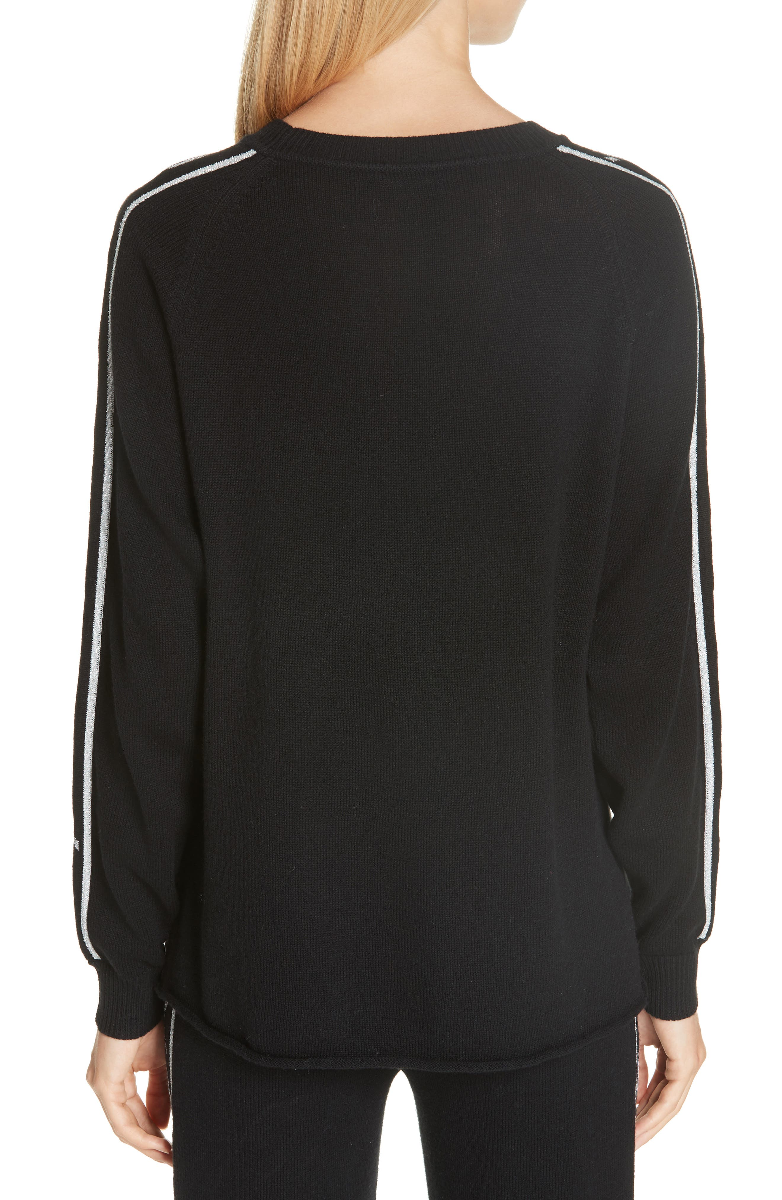 Logo Jacquard Sleeve Wool Blend Sweater,                             Alternate thumbnail 2, color,                             BLACK
