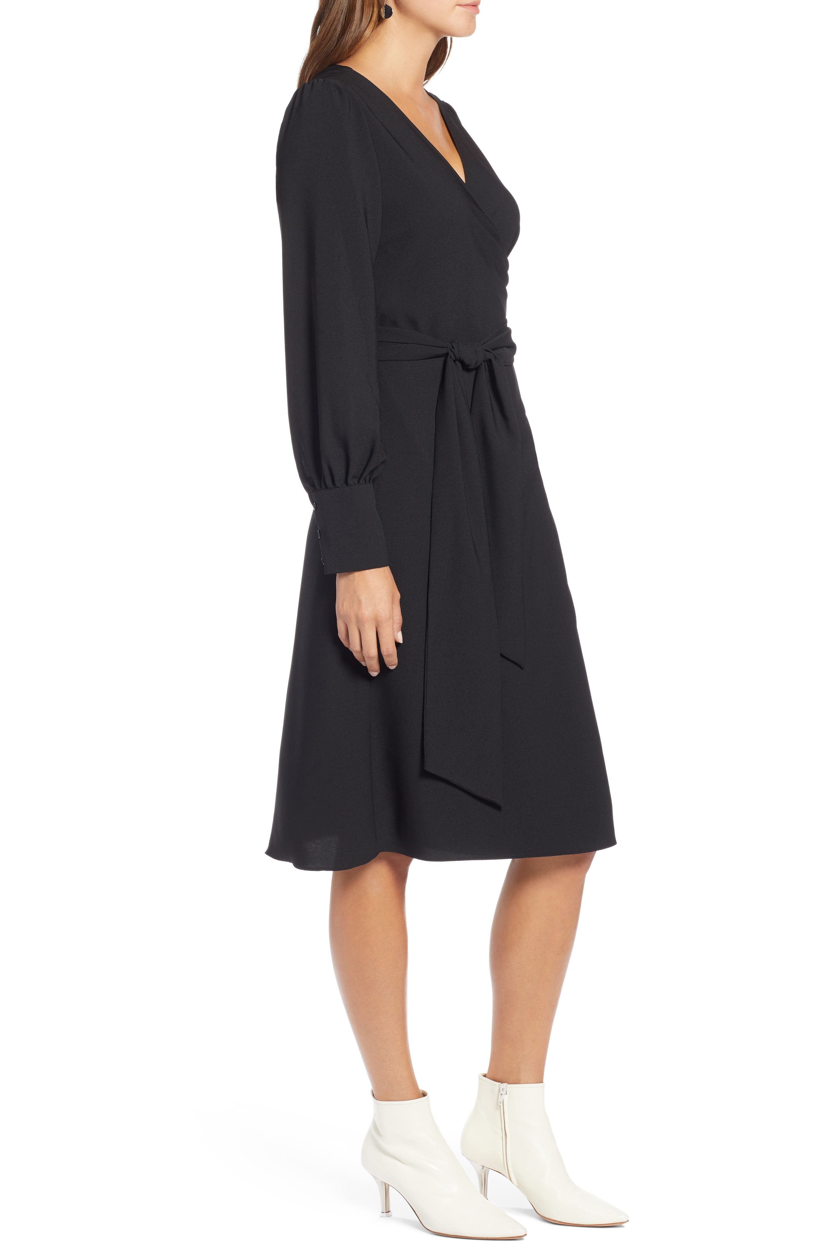 Wrap Dress,                             Alternate thumbnail 3, color,                             BLACK