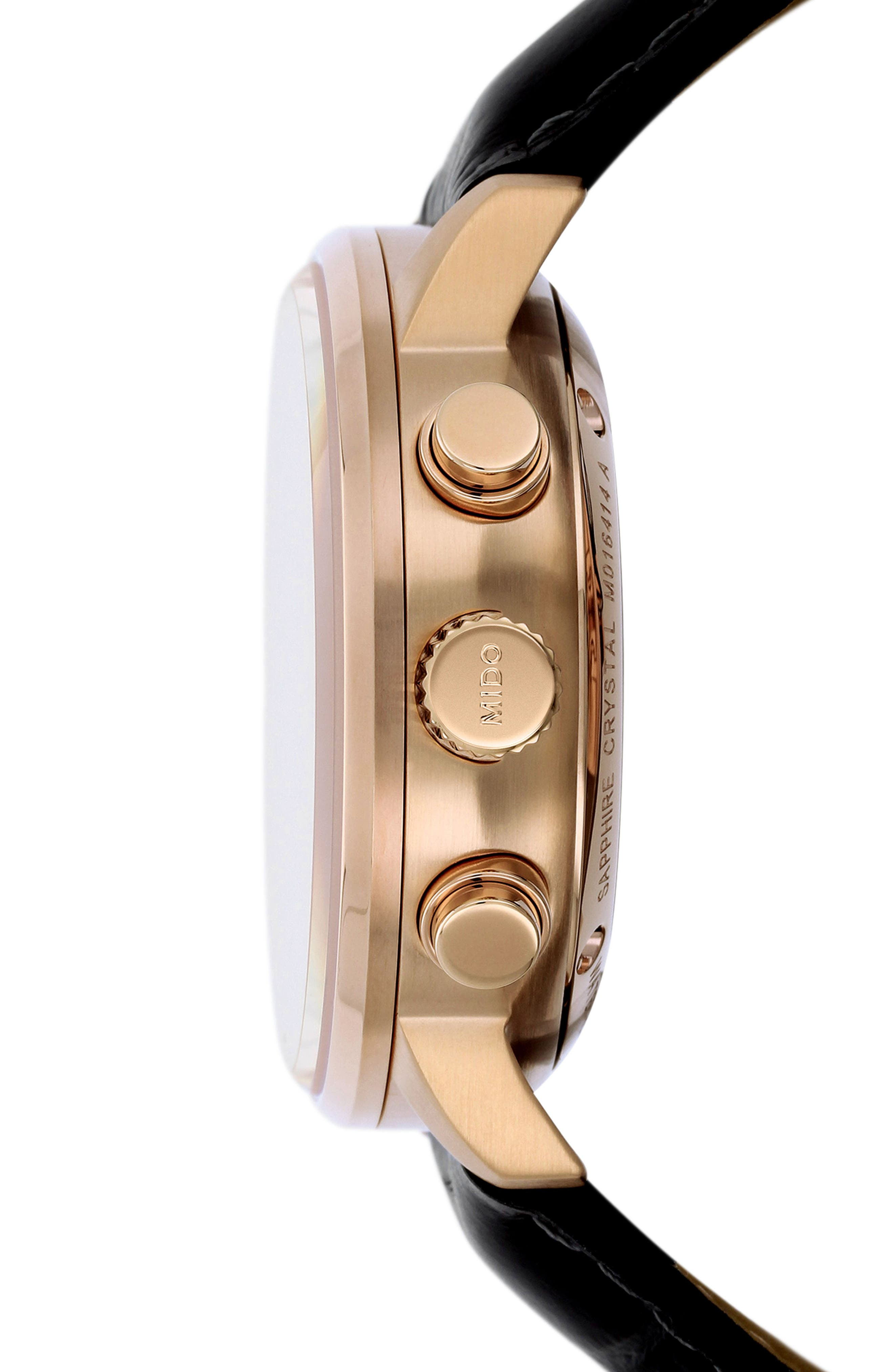 Commander Chronometer Leather Strap Watch, 42mm,                             Alternate thumbnail 3, color,                             BLACK/ SILVER/ ROSE GOLD