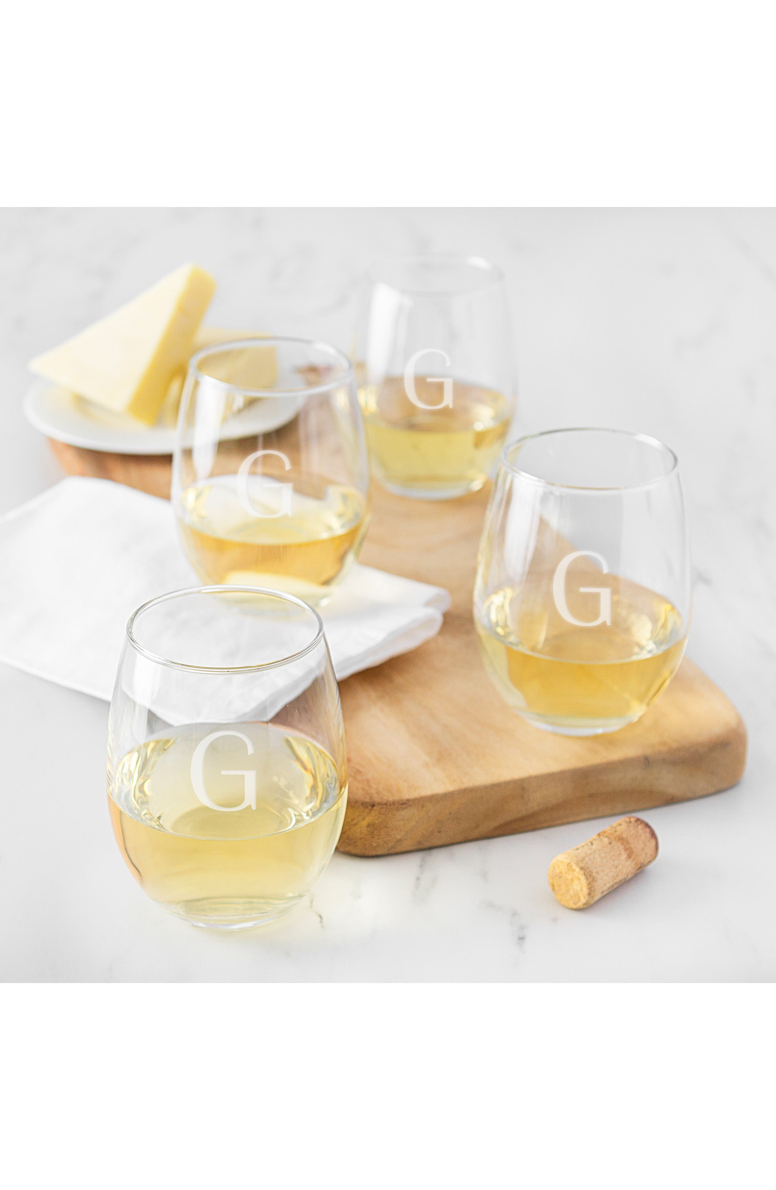 Estate Collection Set of 4 Monogram Stemless Wine Glasses,                             Alternate thumbnail 4, color,                             BLANK