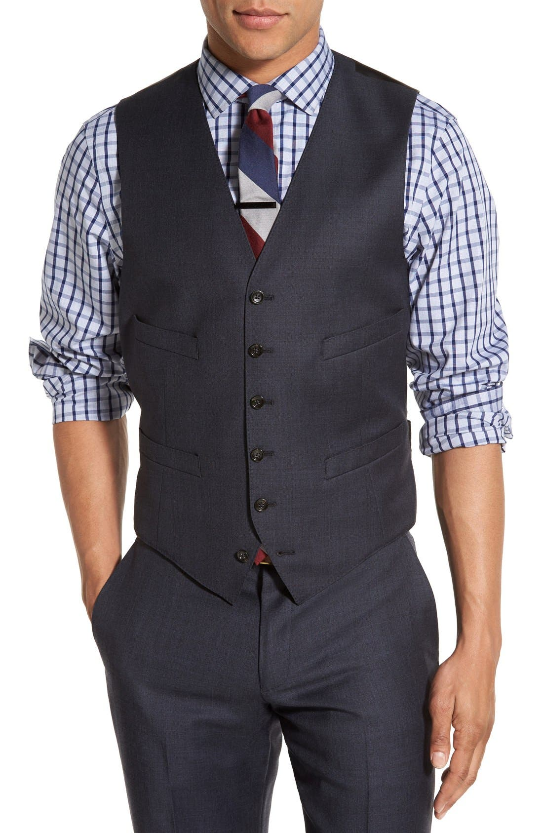 Ludlow Trim Fit Solid Wool Vest,                         Main,                         color, 410