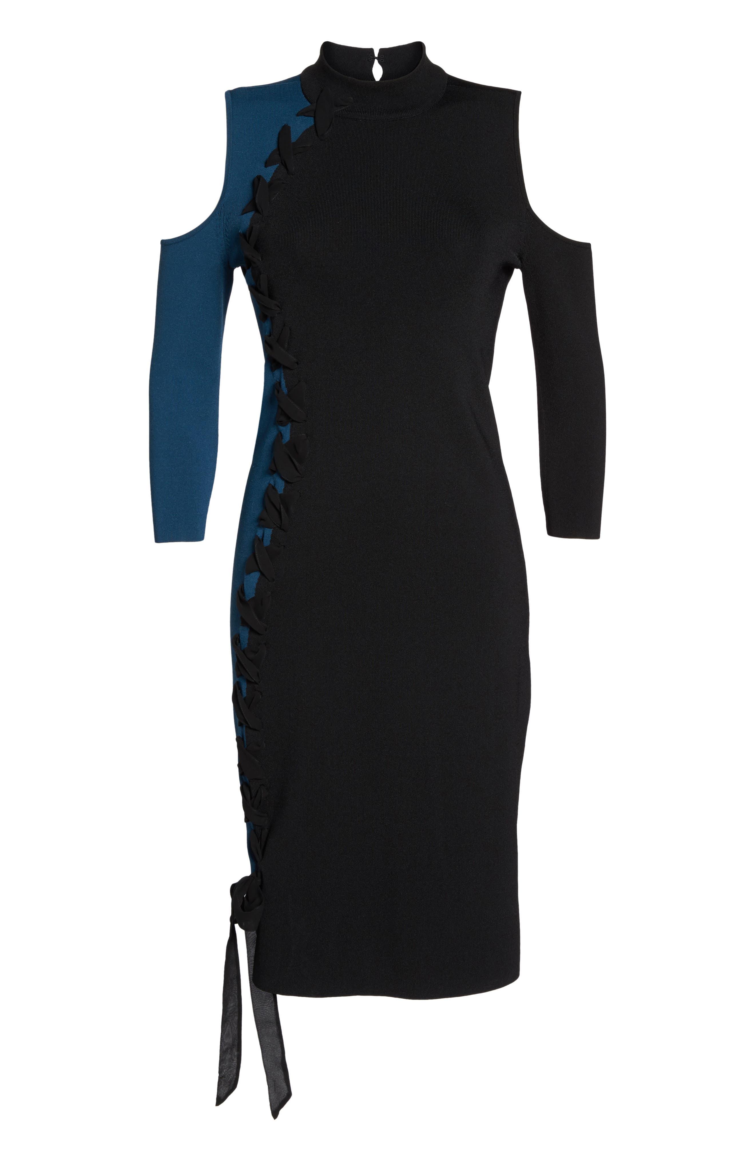 Swirl Cold Shoulder Dress,                             Alternate thumbnail 6, color,                             009