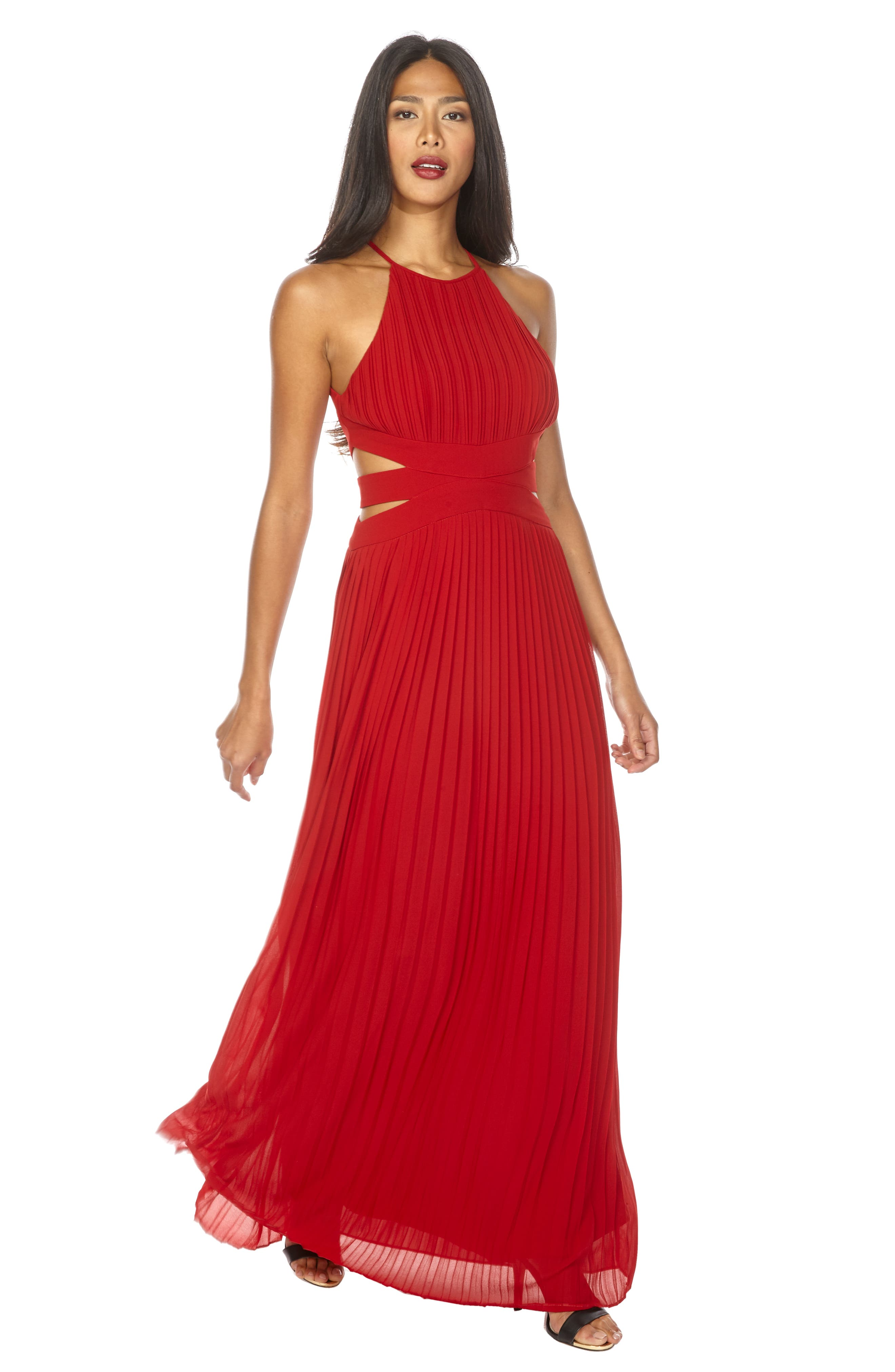 Boston Cutout Maxi Dress,                             Alternate thumbnail 4, color,                             RUBY RED