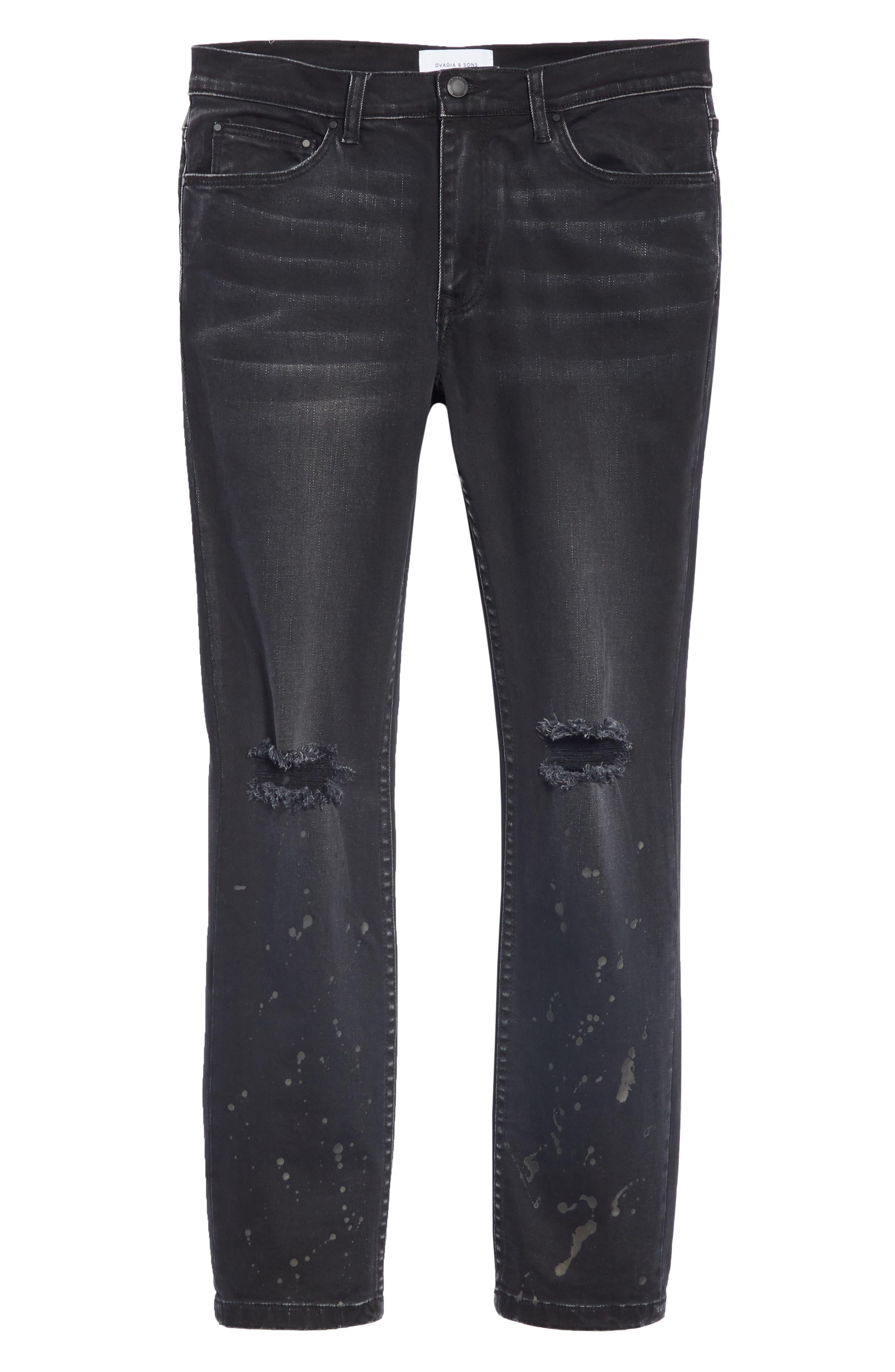 Distressed Slim Fit Jeans,                             Alternate thumbnail 6, color,                             BLACK