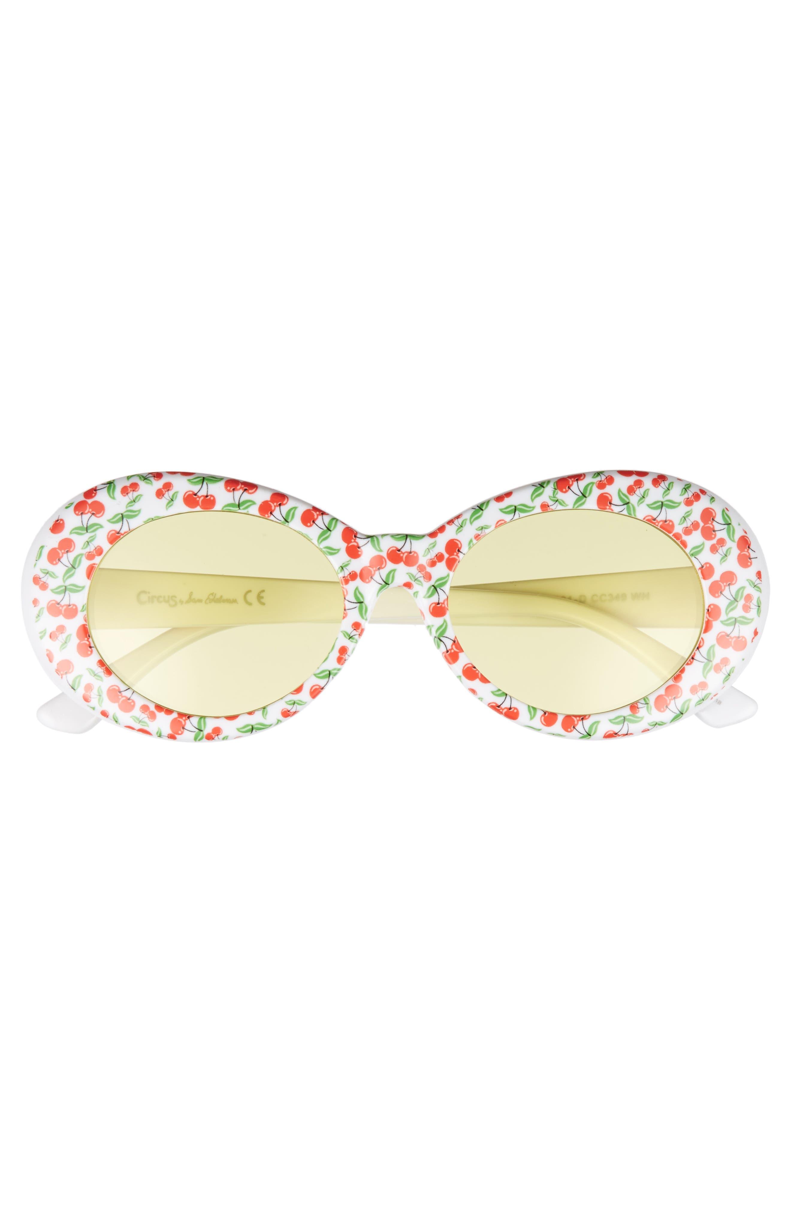50mm Cherry Print Oval Sunglasses,                             Alternate thumbnail 6, color,
