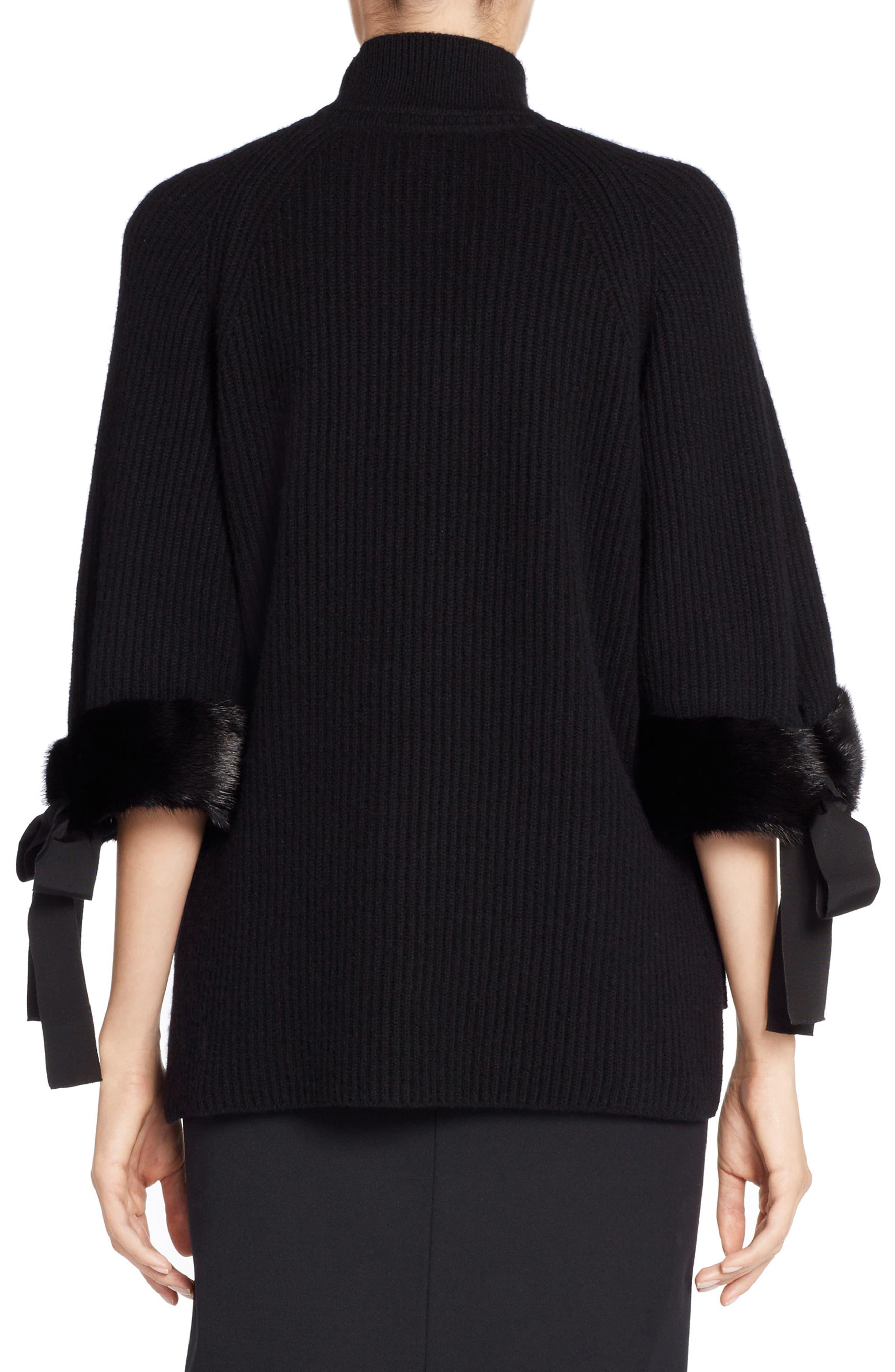 Cashmere & Genuine Mink Fur Sweater,                             Alternate thumbnail 2, color,                             BLACK