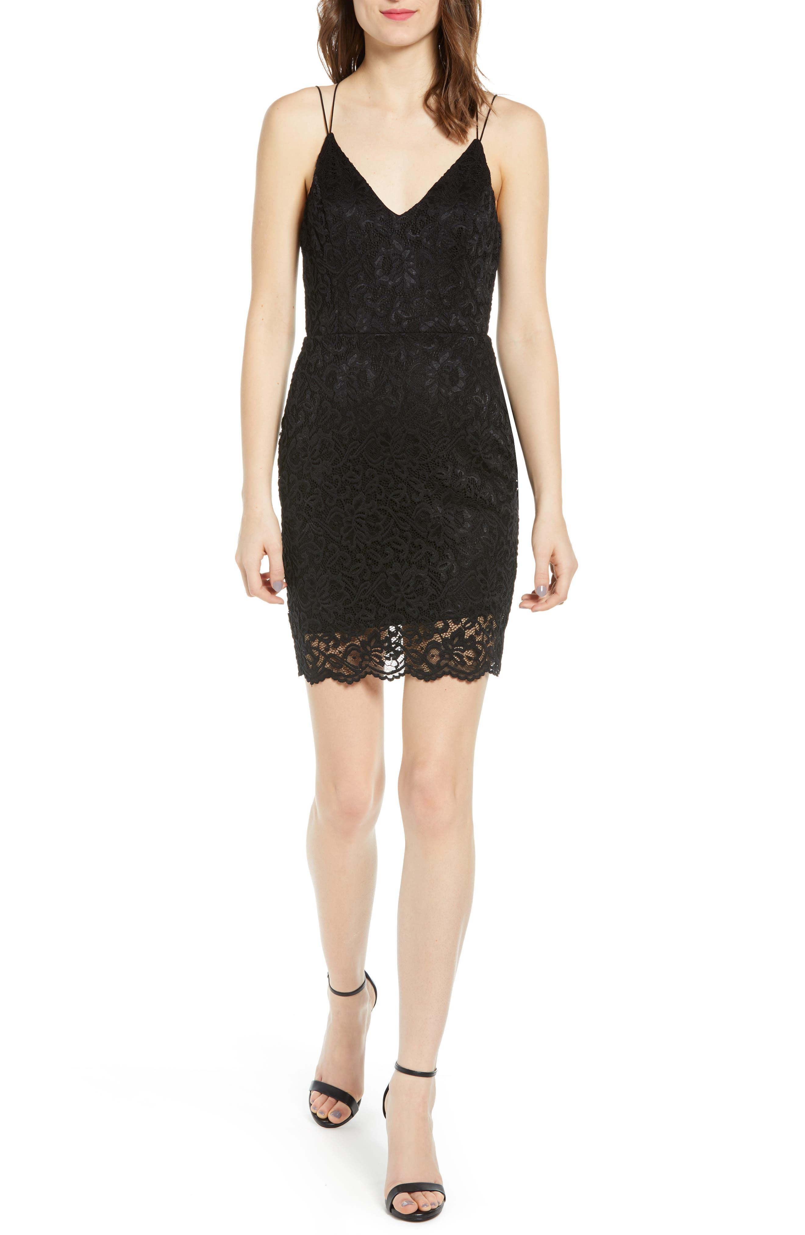 Leith Lace Minidress, Black