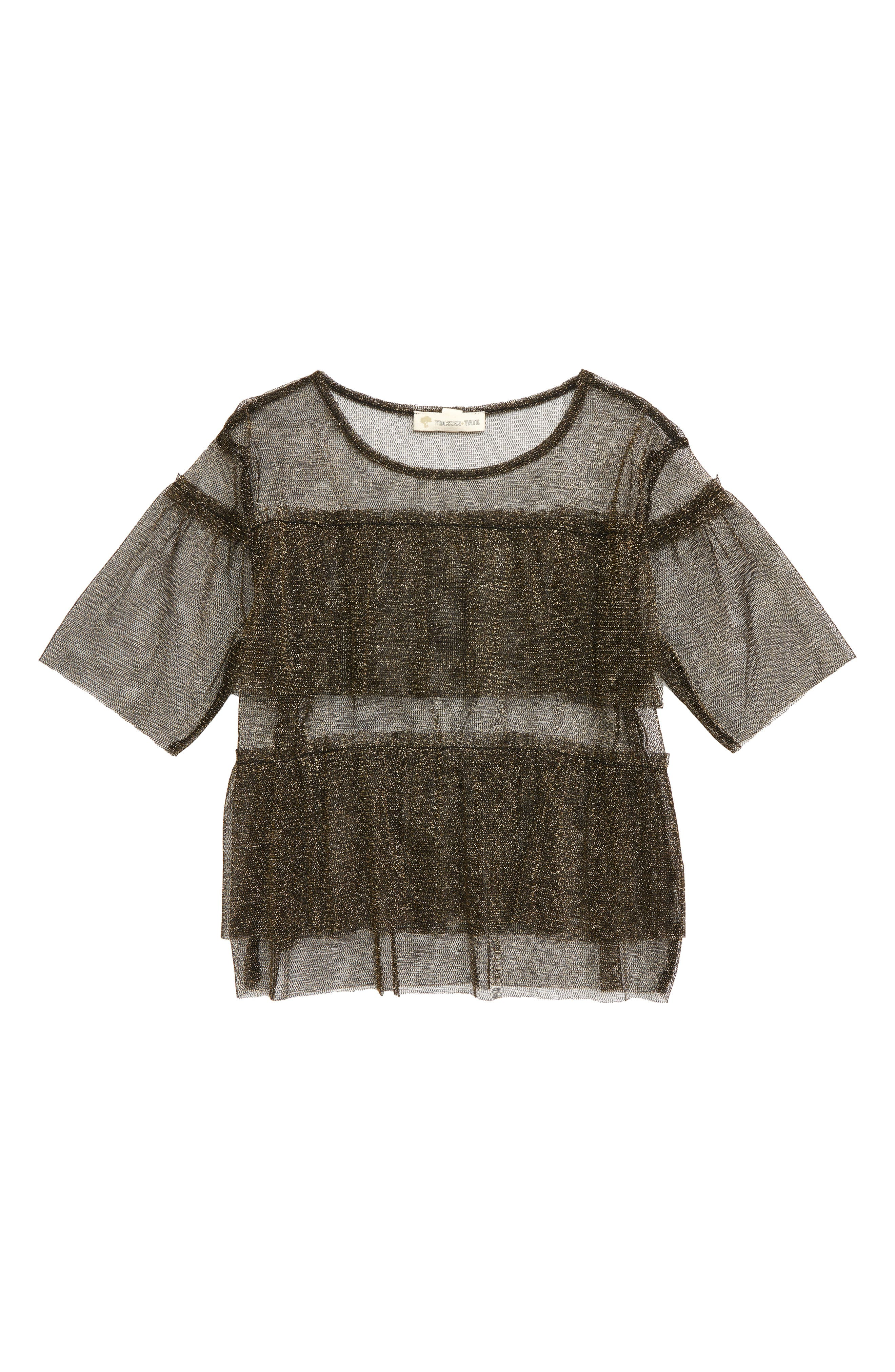 Sheer Sparkle Tulle Top,                         Main,                         color, BLACK