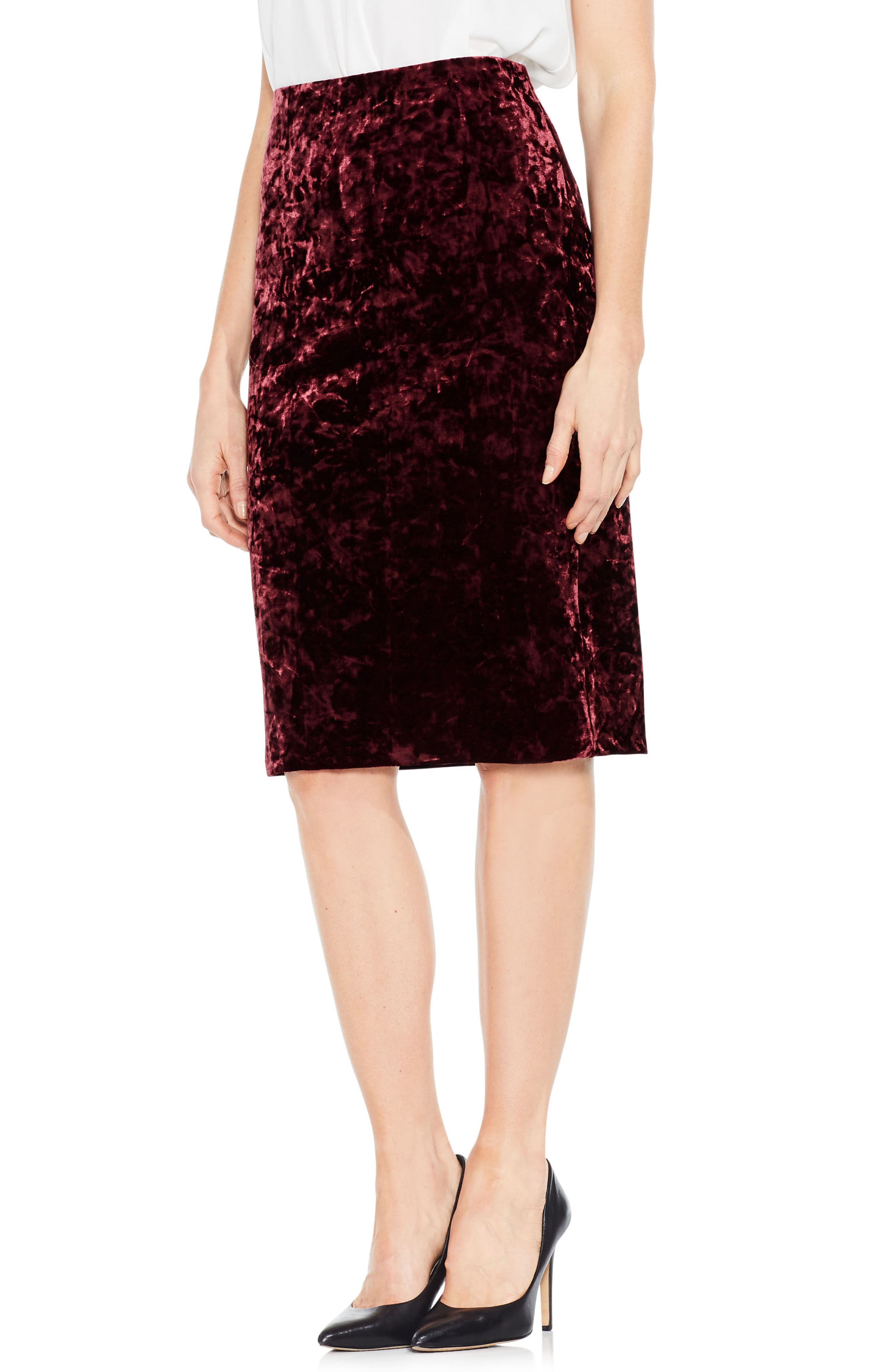 Crushed Velvet Pencil Skirt,                             Main thumbnail 1, color,