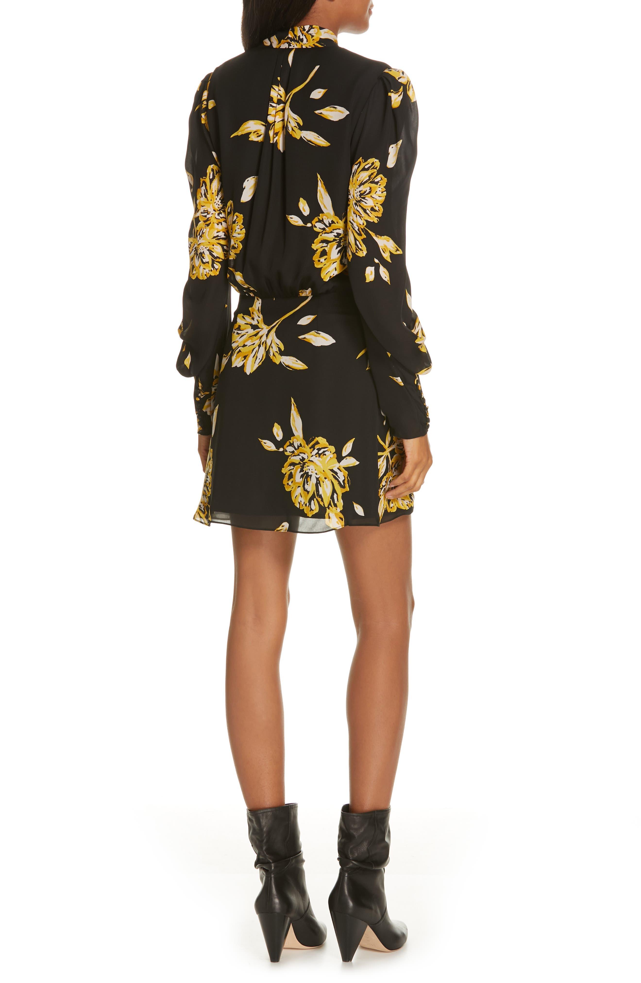Gyan Floral Silk Dress,                             Alternate thumbnail 2, color,                             CAVIAR