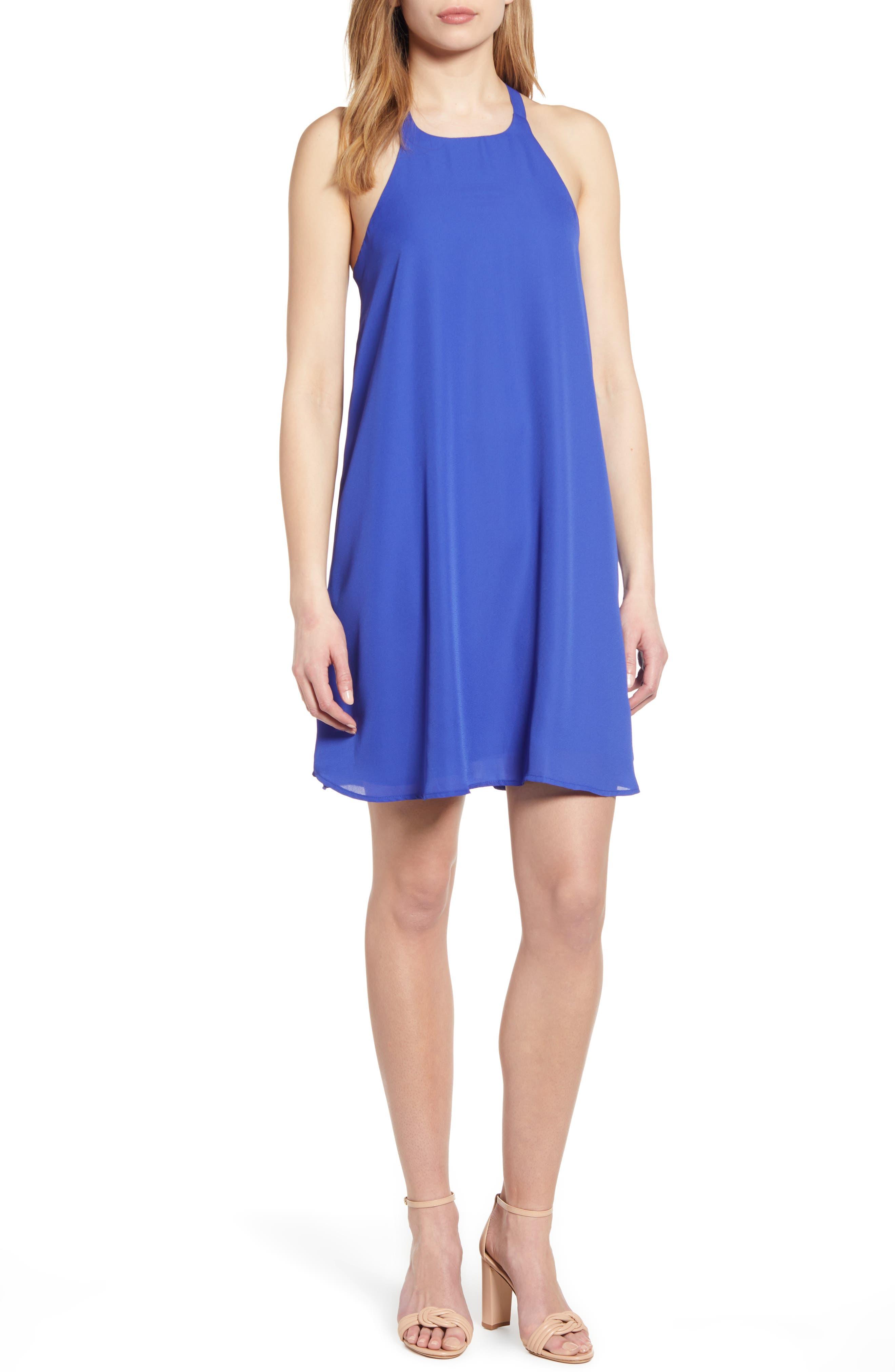 women's gibson x hi sugarplum! naples swing halter dress, size xx-large - blue