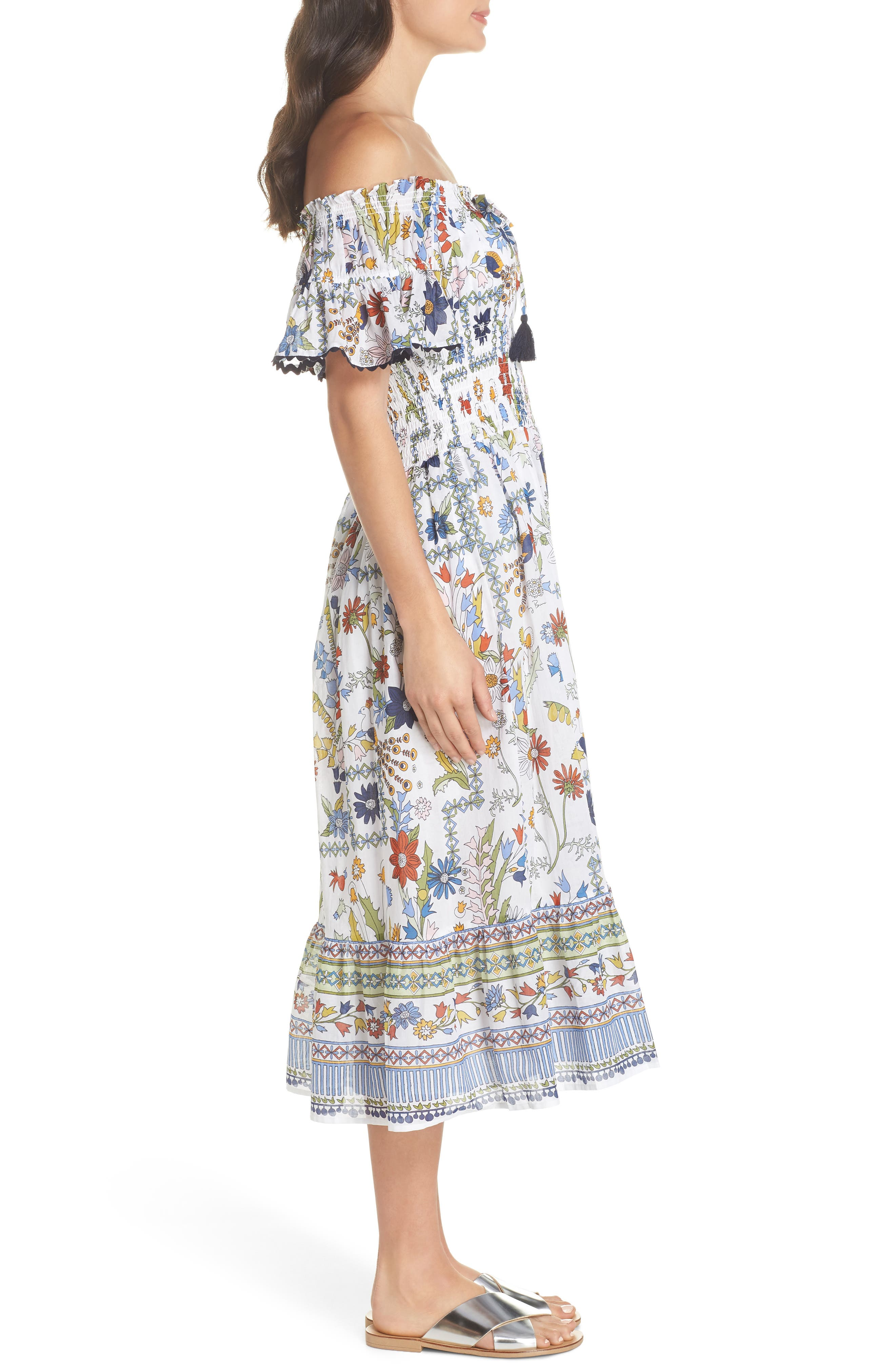 Meadow Folly Off the Shoulder Cover-Up Dress,                             Alternate thumbnail 3, color,                             900