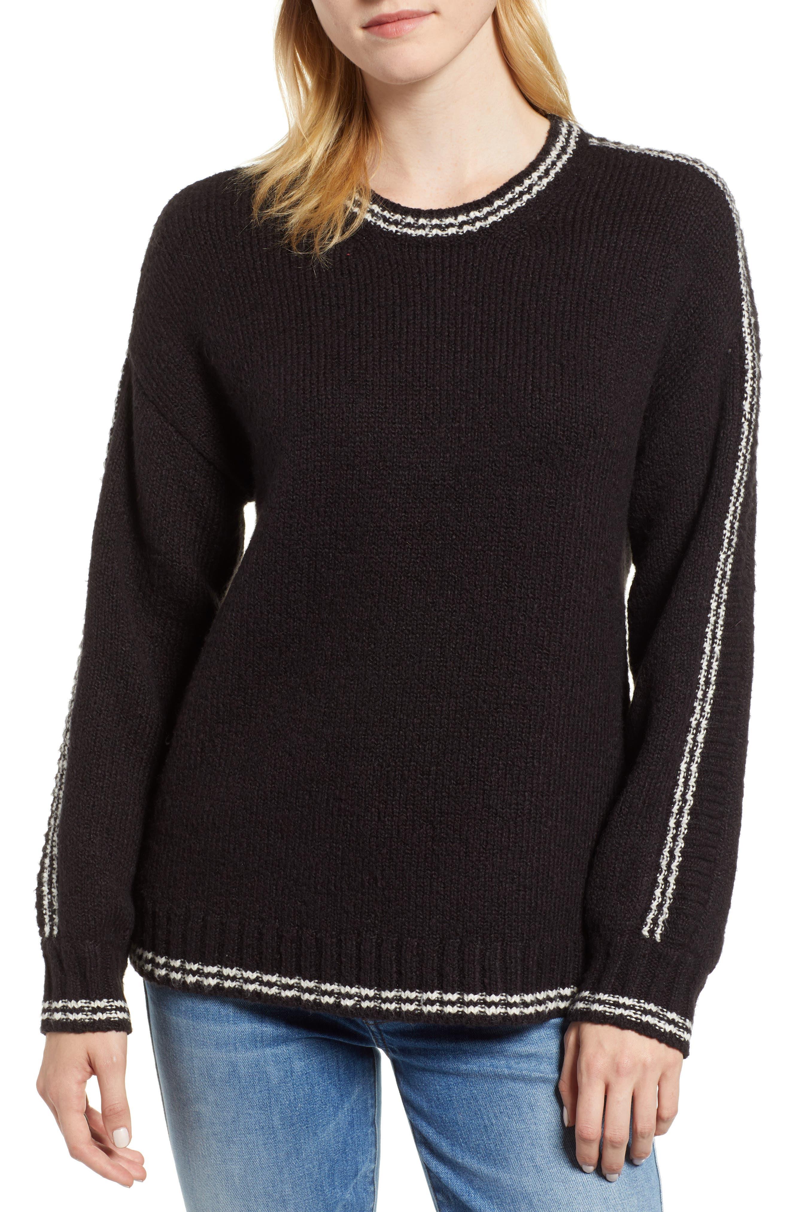 Velvet By Graham & Spencer Stripe Sleeve Cotton Blend Sweater, Black