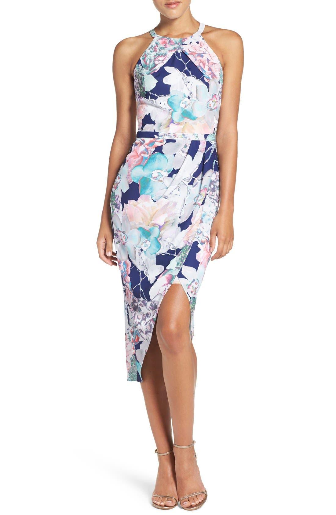 Floral Faux Wrap Dress,                         Main,                         color, 410