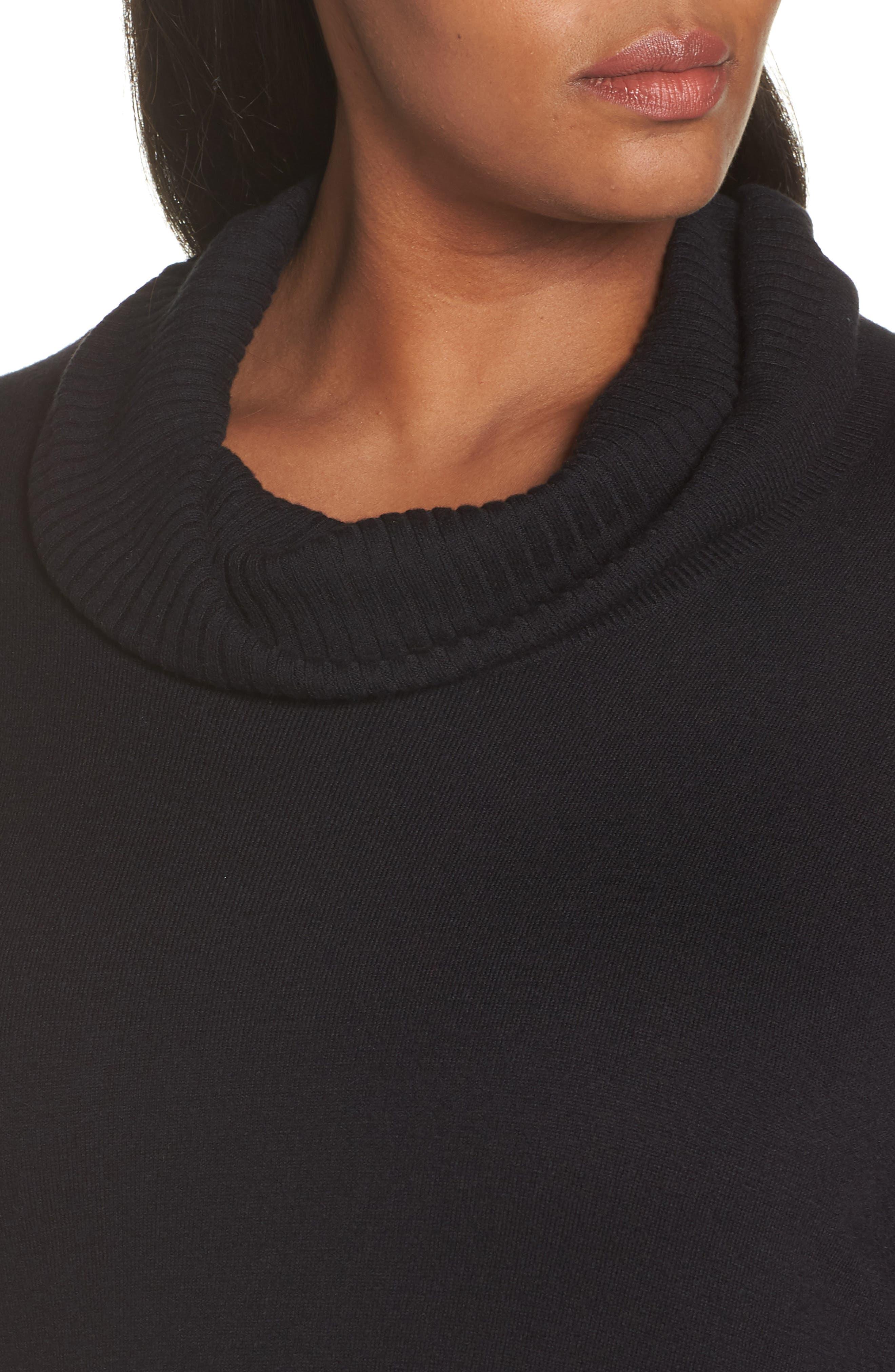 SEJOUR,                             Cowl Neck Pullover,                             Alternate thumbnail 4, color,                             BLACK