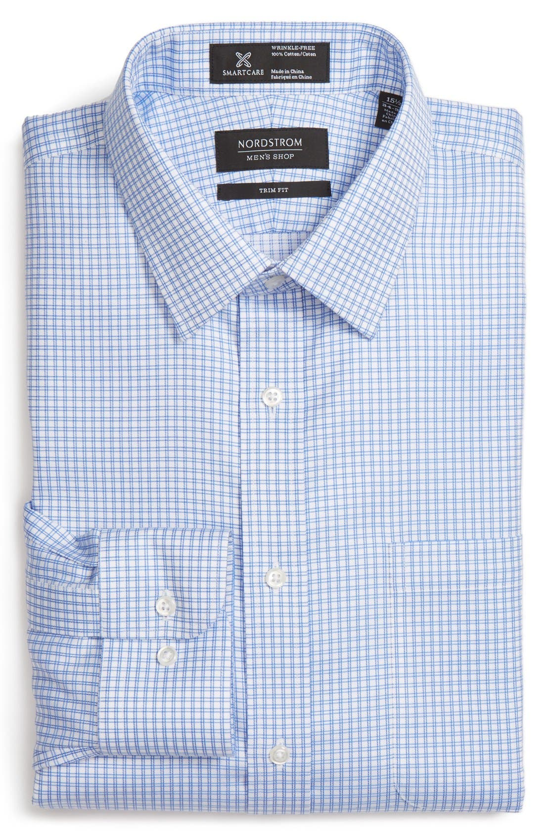 Smartcare<sup>™</sup> Trim Fit Check Dress Shirt,                         Main,                         color, 420