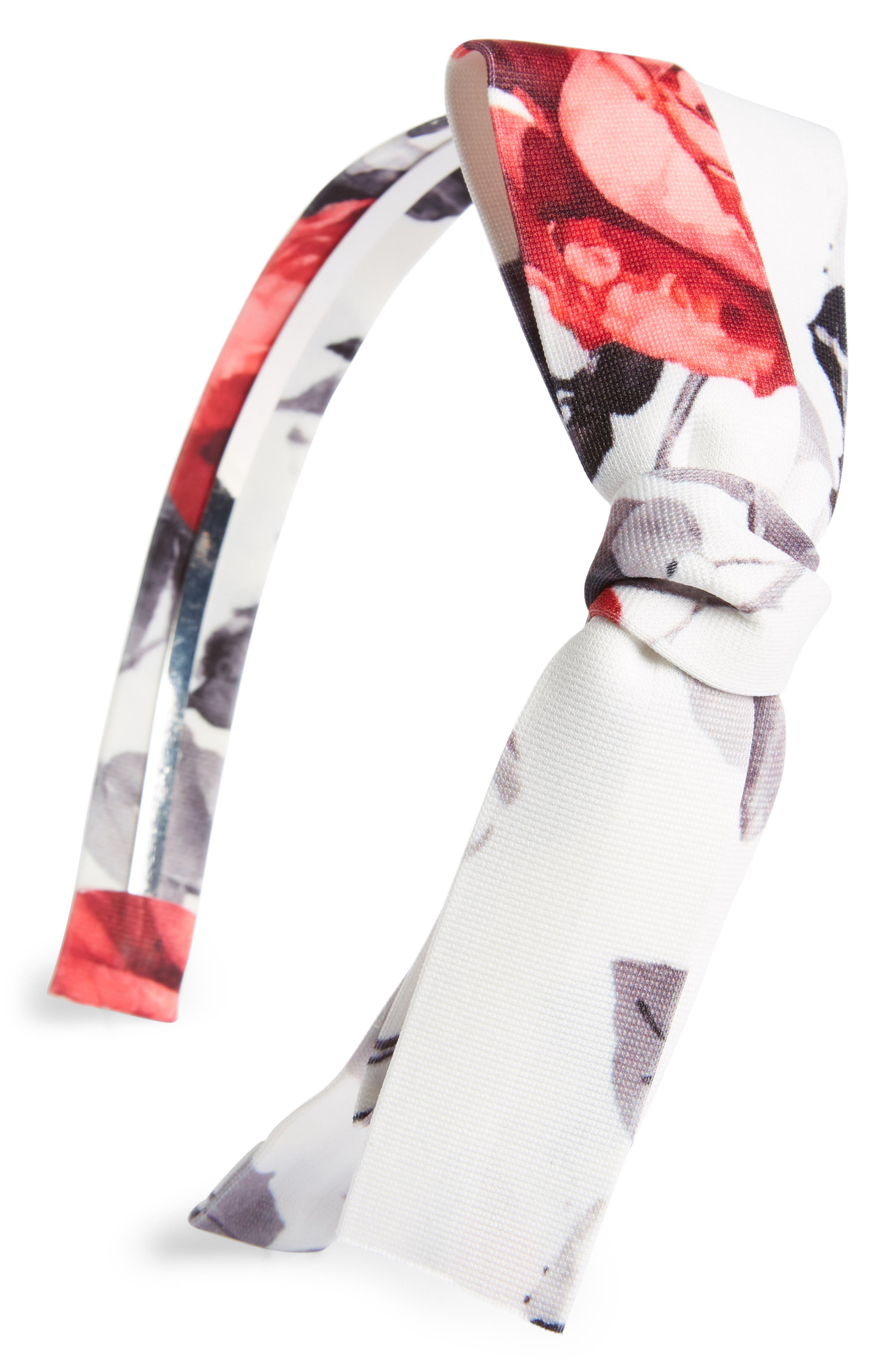 Flower Print Bow Headband,                         Main,                         color, 148