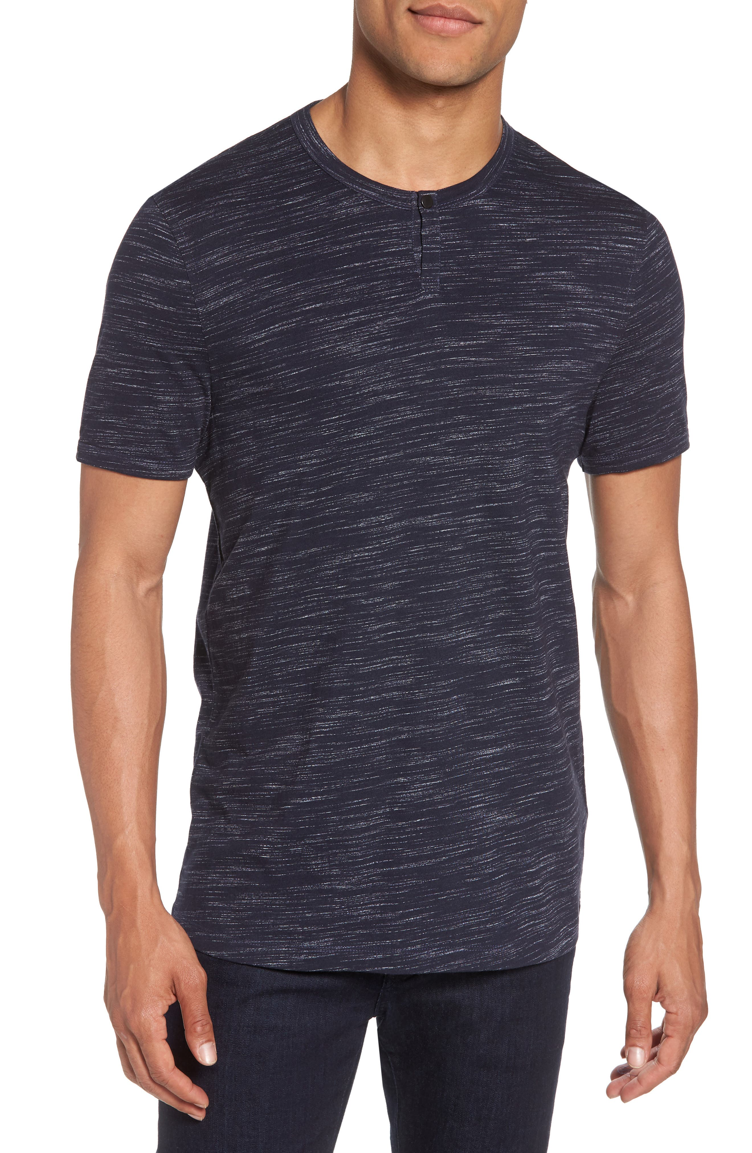 Space Dyed One-Button Henley T-Shirt,                             Main thumbnail 4, color,