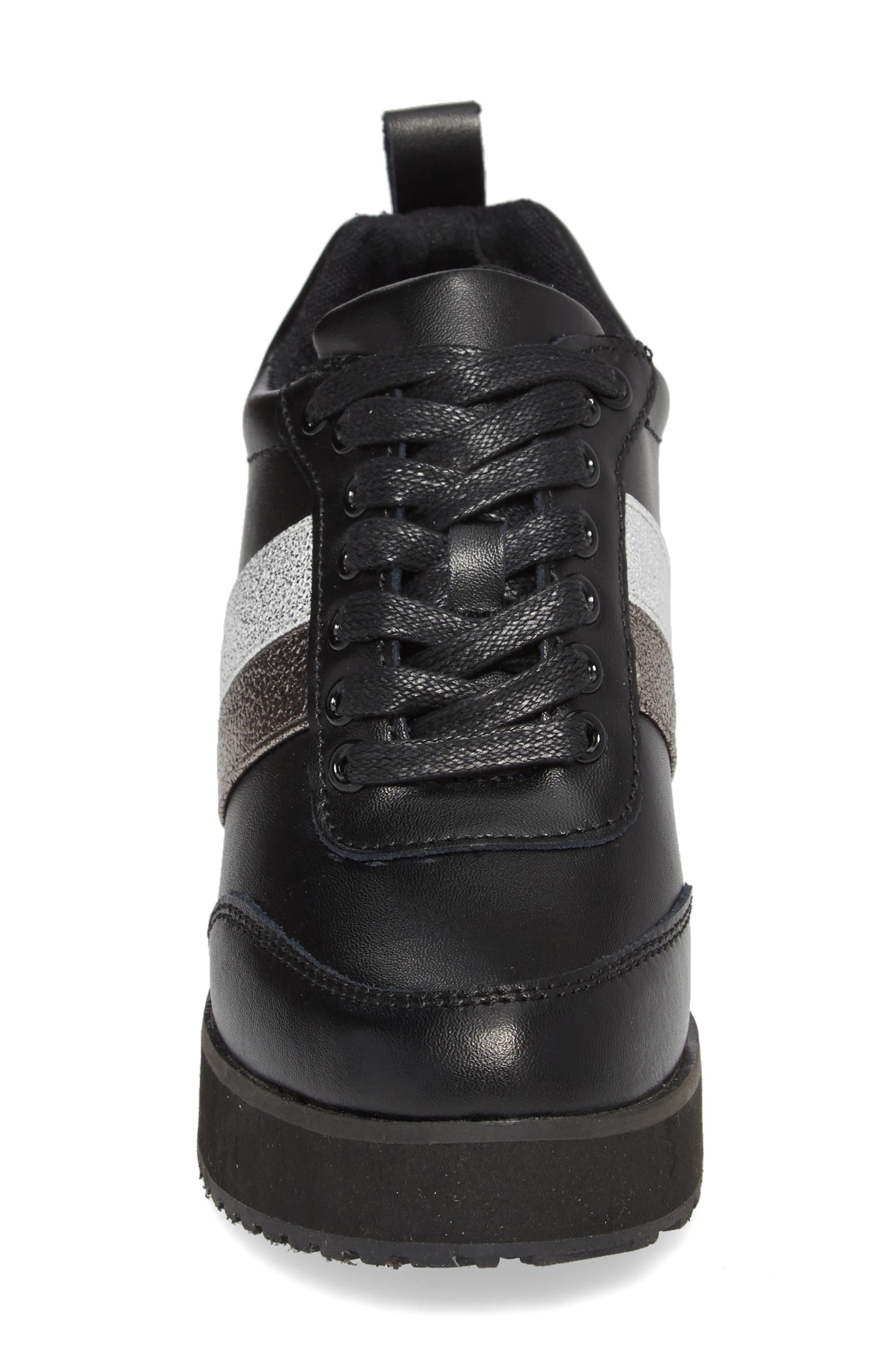 Sarita Hidden Wedge Sneaker,                             Alternate thumbnail 4, color,                             BLACK