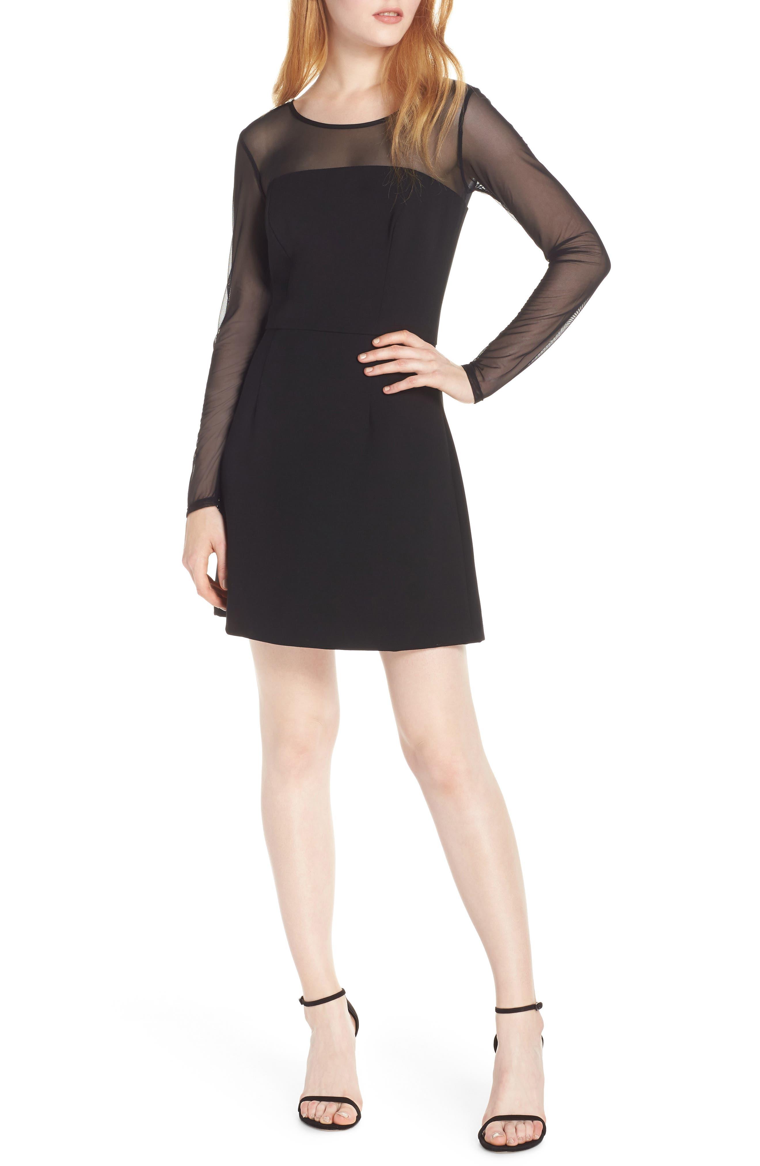 FRENCH CONNECTION,                             Whisper Light Mesh Sleeve Dress,                             Main thumbnail 1, color,                             BLACK