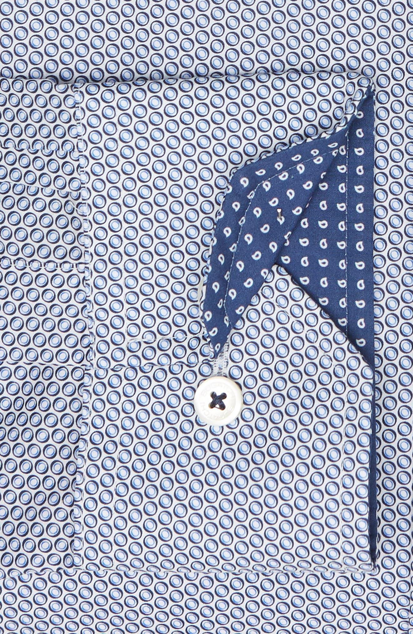 Trim Fit Print Dress Shirt,                             Alternate thumbnail 6, color,                             BISCOTTI